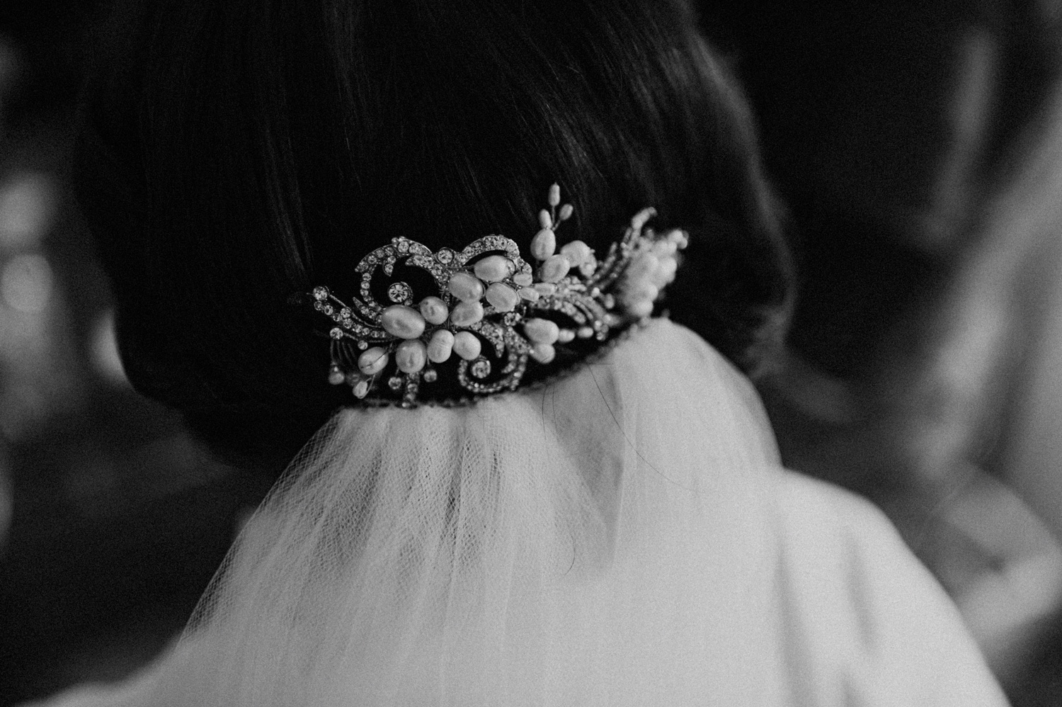 Bride with veil with beautiful clip