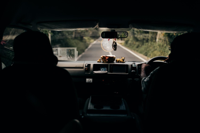 Driving in car in Bali, Indonesia