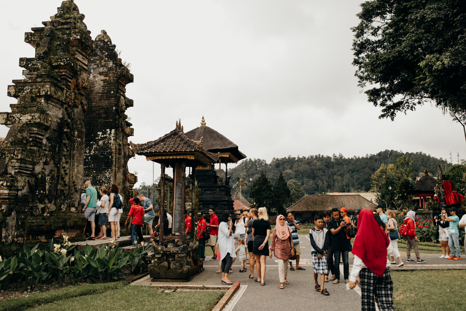 Visiting a temple in Bali, Indonesia