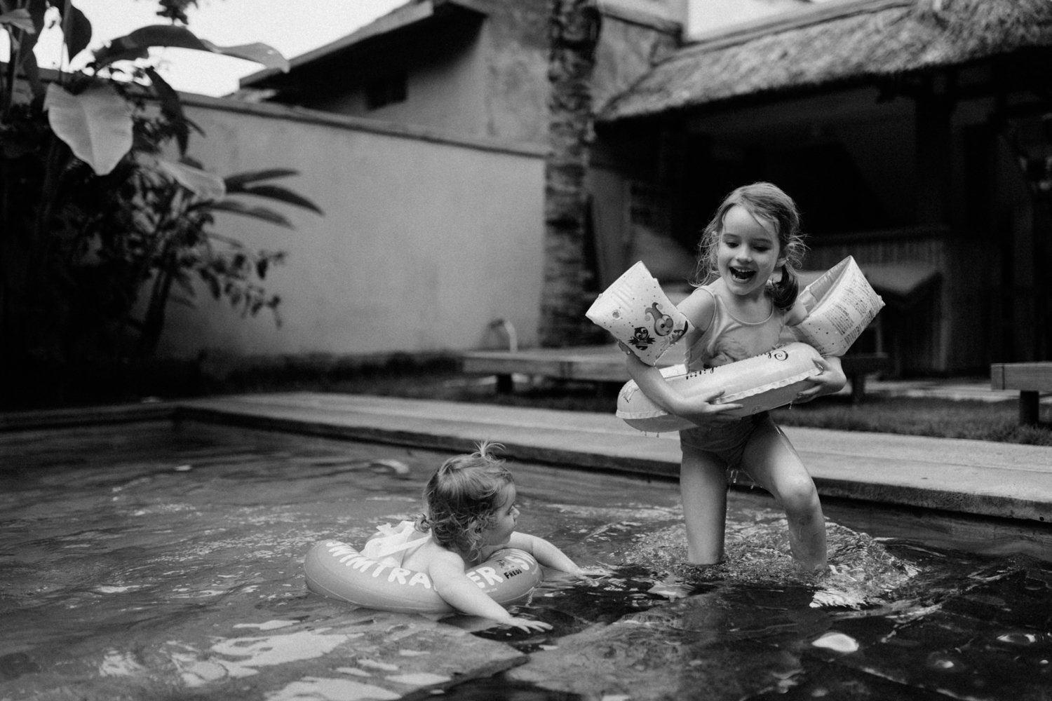 Kids laughing while in pool