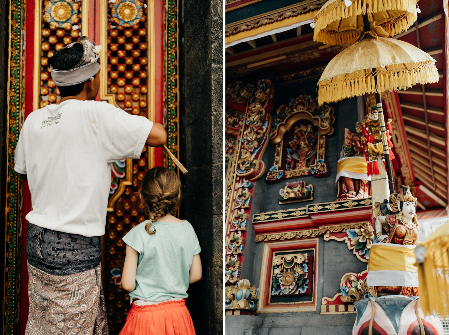 People entering temple in Bali, Indonesia
