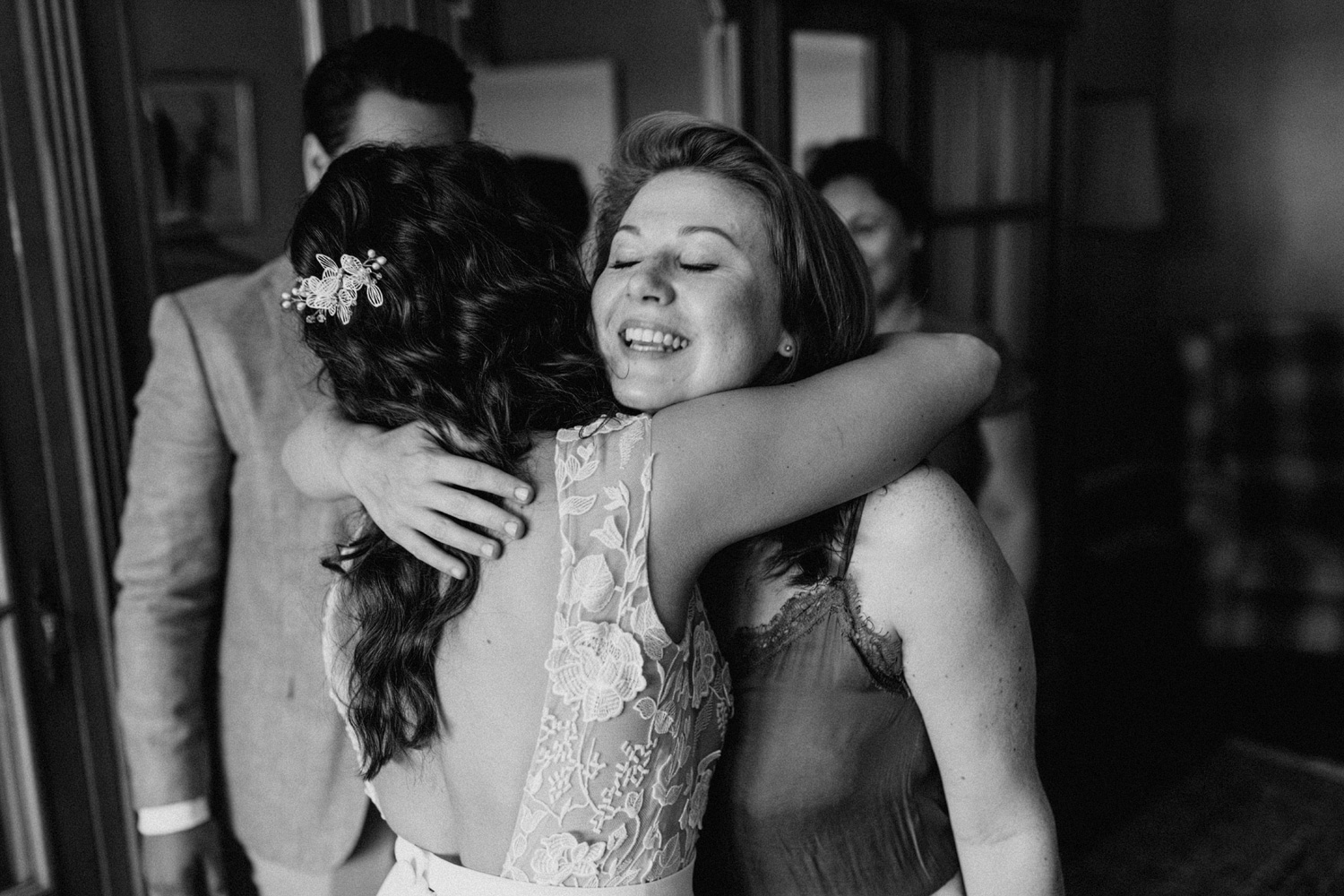 Bride hugging good friend