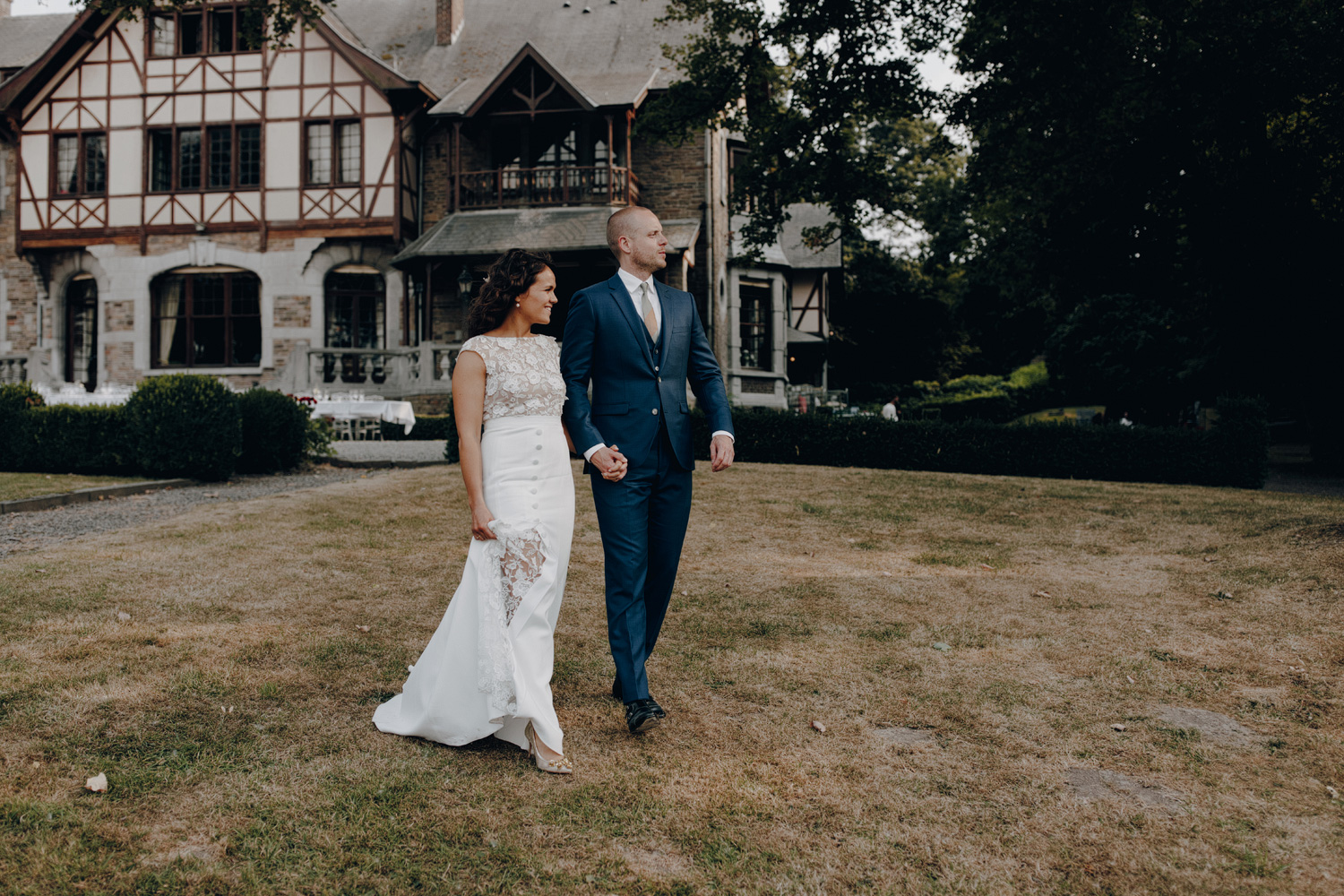 Bride and Groom at Chateau de Presseux