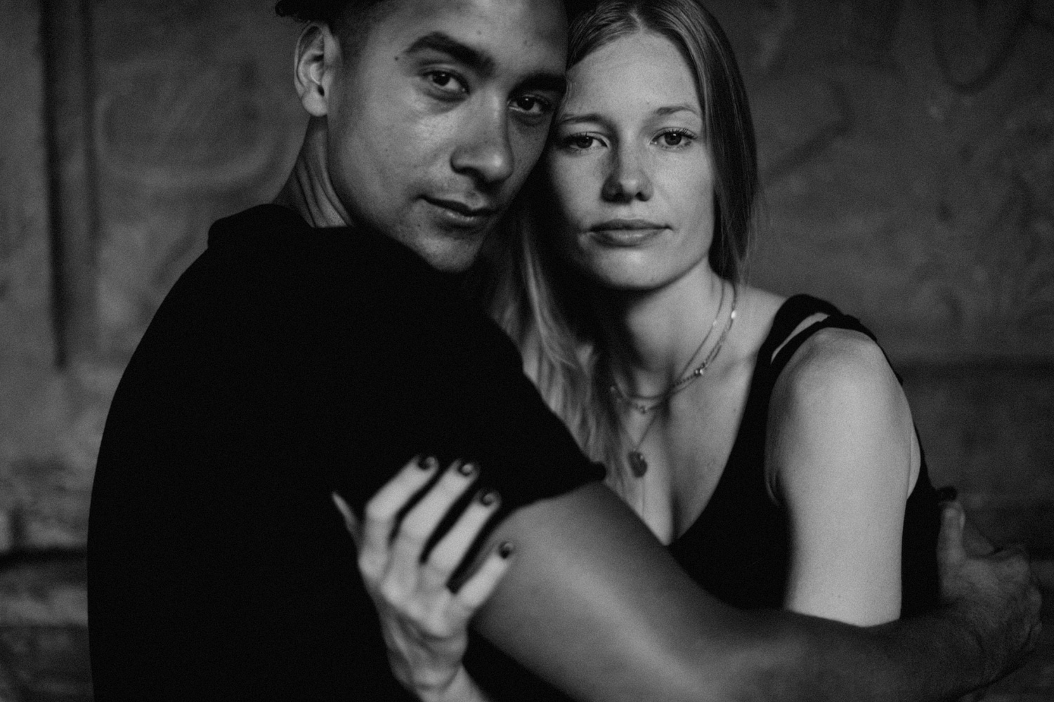 Close up portrait with couple facing the camera
