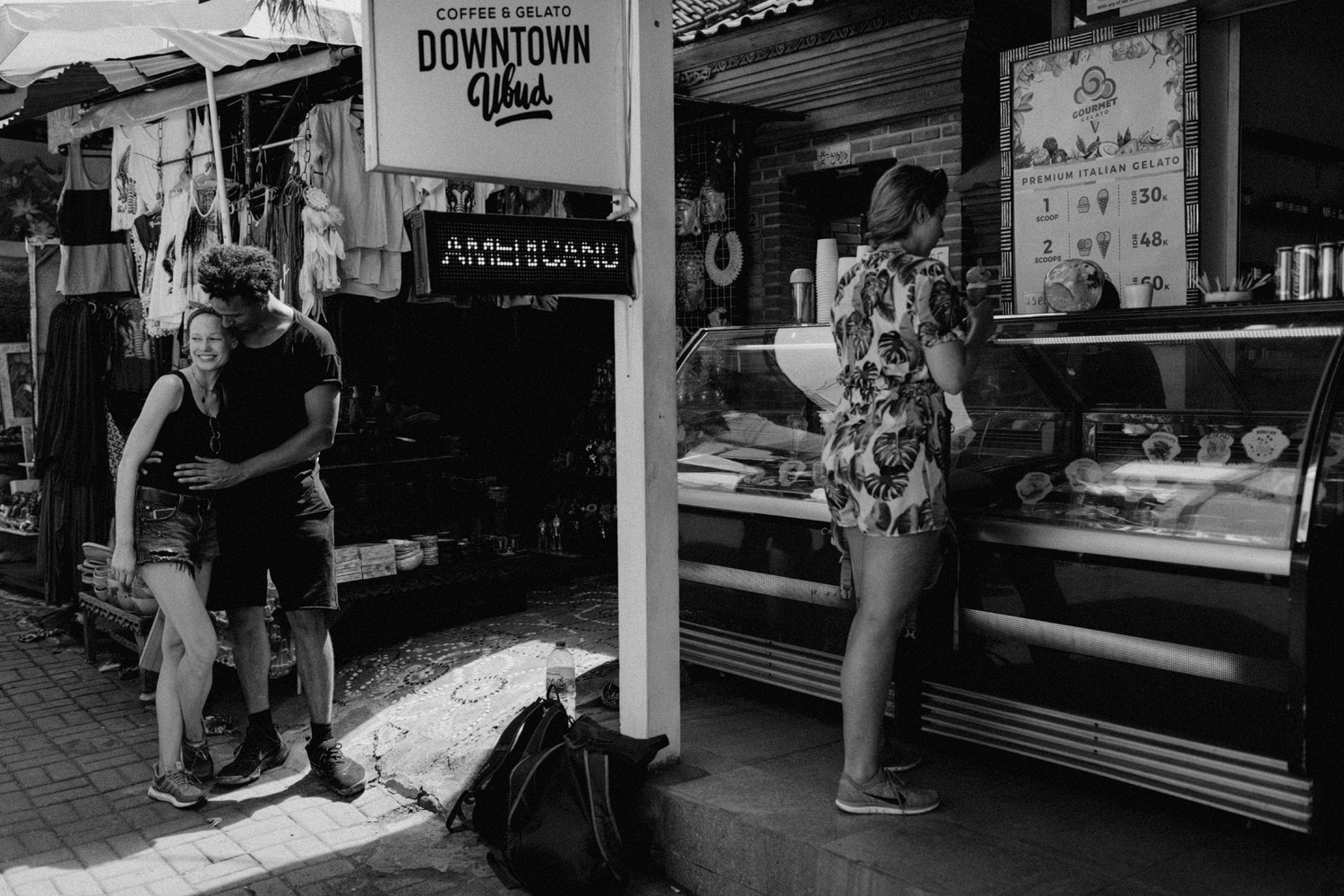 Couple standing at market in Ubud, Bali