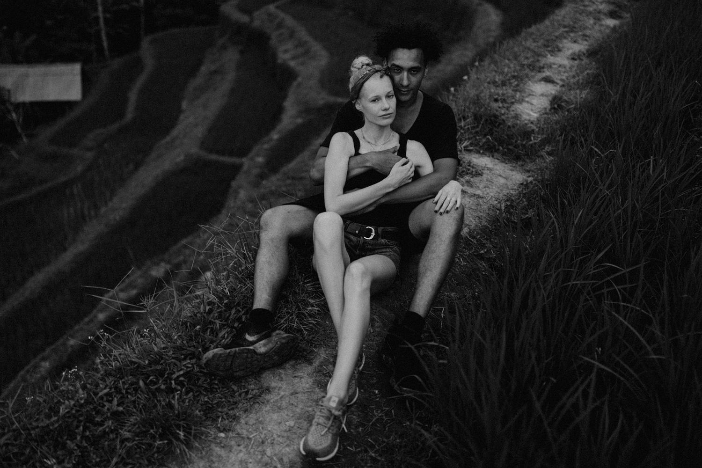Couple sitting together at Tegalalang Rice Terrace, Bali