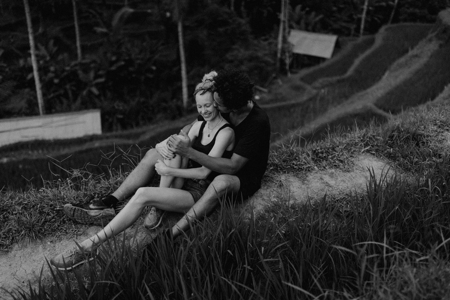 Couple laughing together at Tegalalang Rice Terrace, Bali