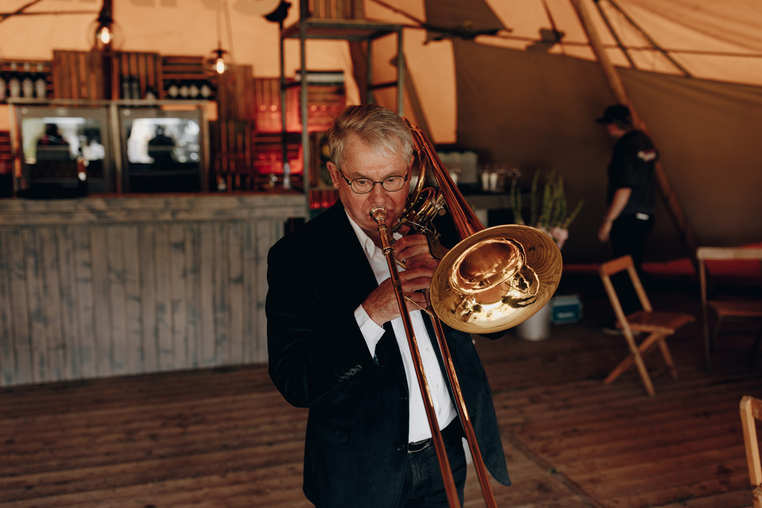 Trumpet player getting ready for wedding