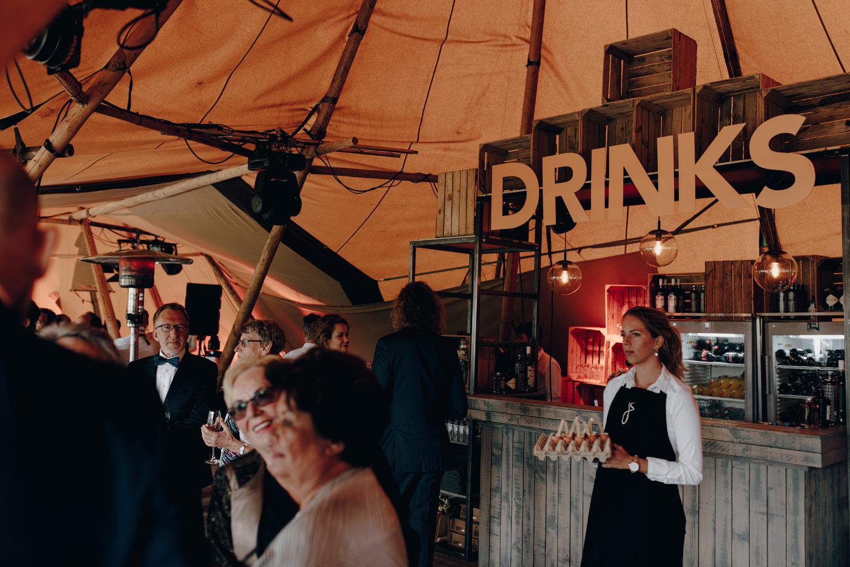 Inside of scandinavian tipi tent at wedding