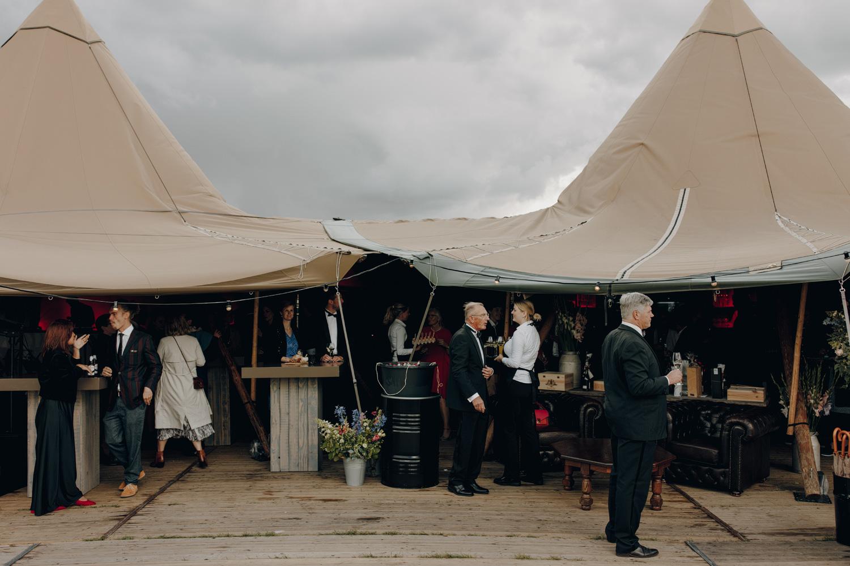 Scandinavian tipi tent for wedding guests