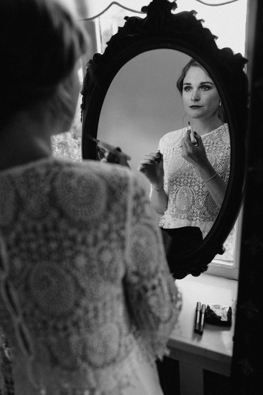 Portrait of bride in mirror
