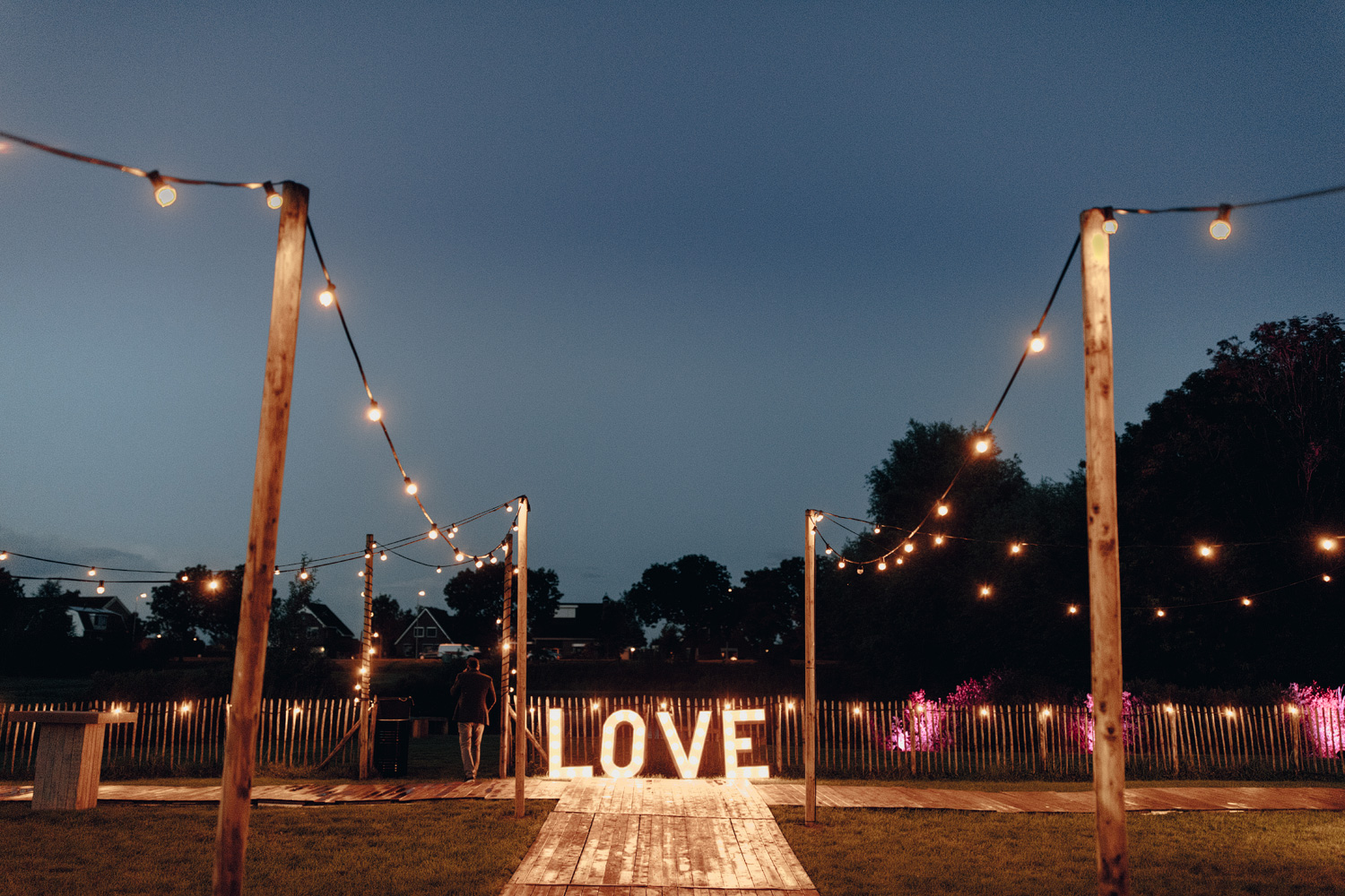 wedding sign with the love letters