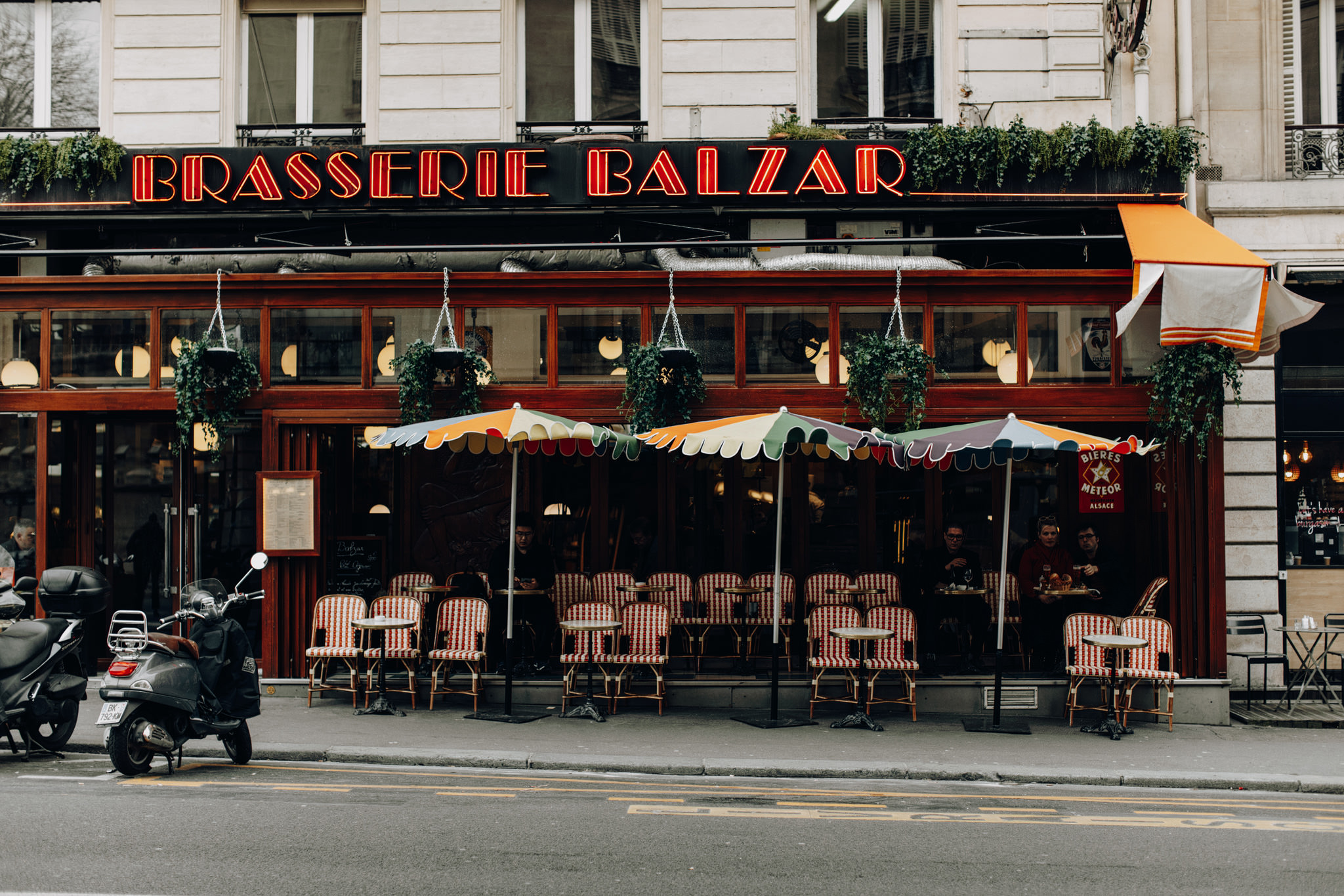 Terrace of Brasserie Balzar in Paris, France