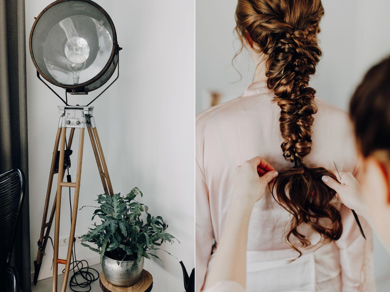 Haar van bruid in prachtig gevlochten staart