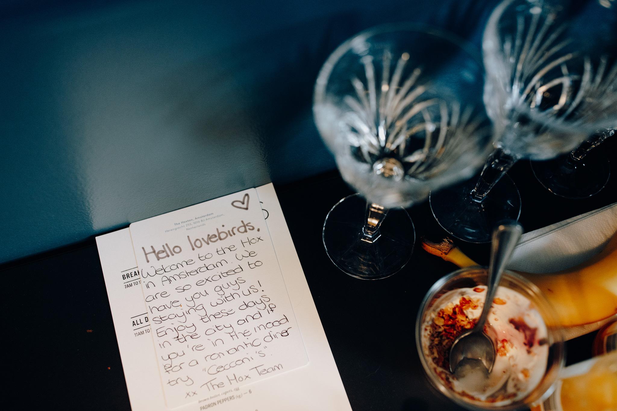 Handwritten note to wedding couple