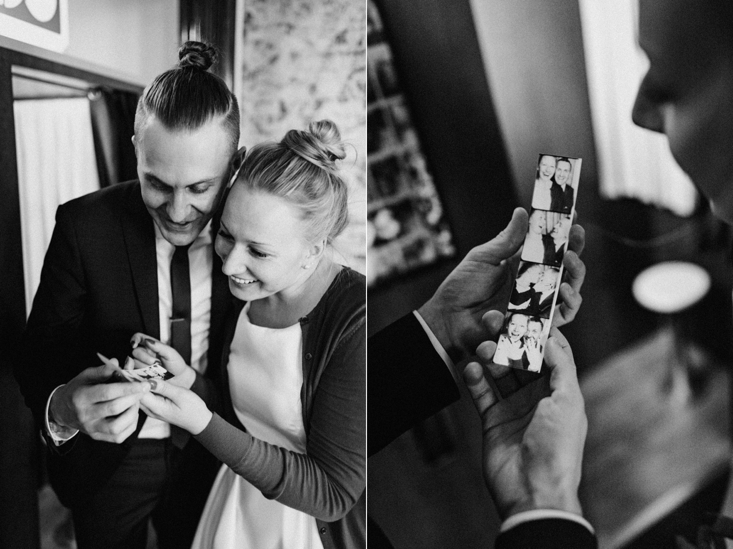 Elopement couple looking at photos from photo booth