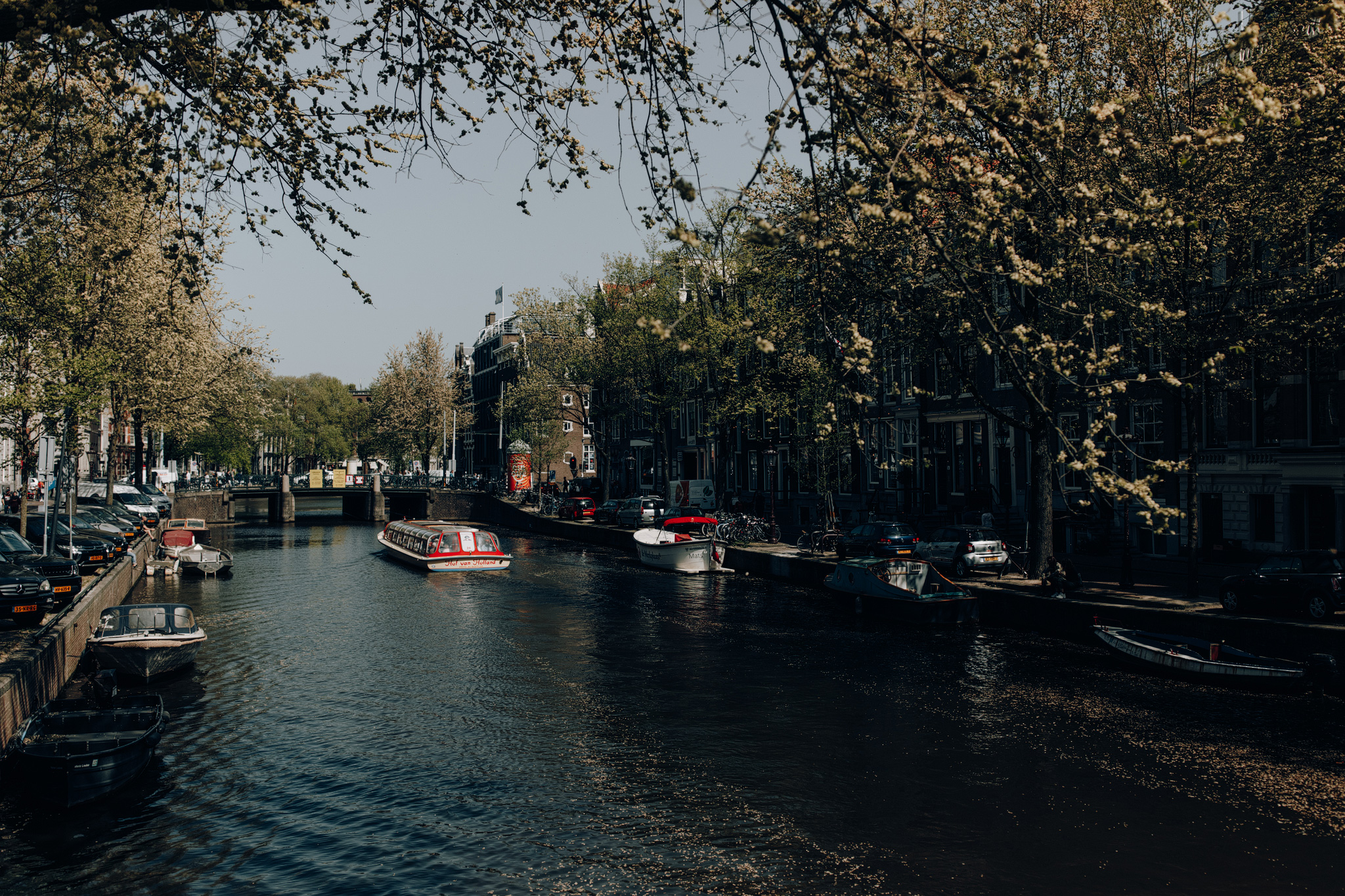 Canal boat in the canals of Amsterdam