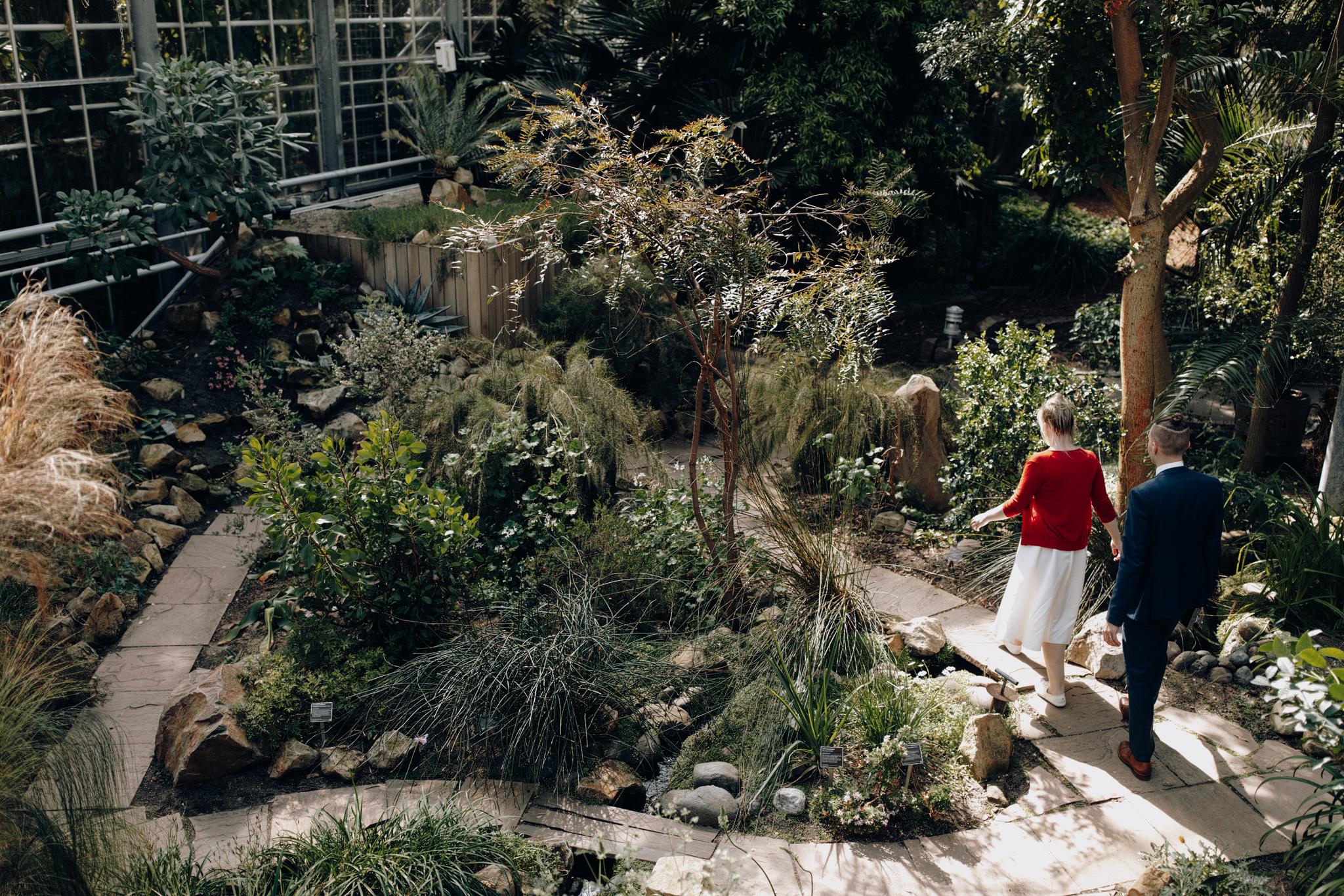 Elopement couple wandering in Hortus Botanicus Amsterdam