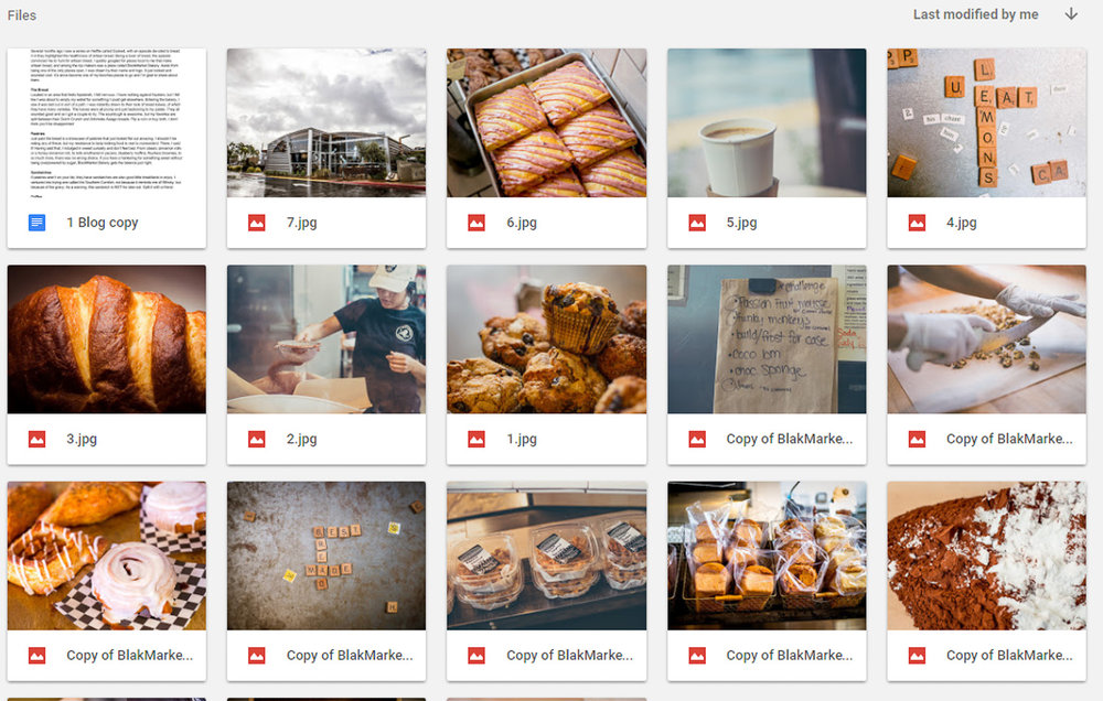 Sample thumbnail gallery for social media library.