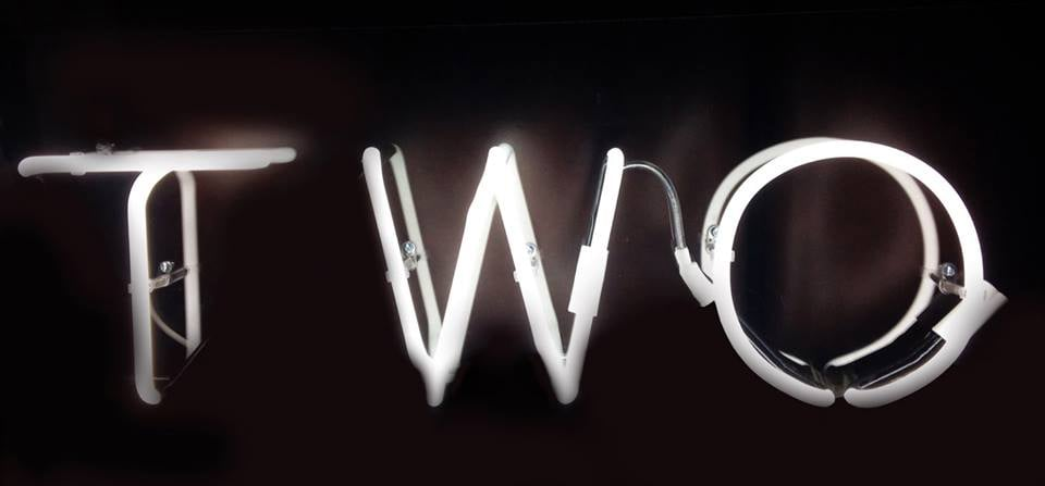 Two.  Neon sign (40cmx70cm)  Exhibited at Gallery 286, Earls Court, London (2014)