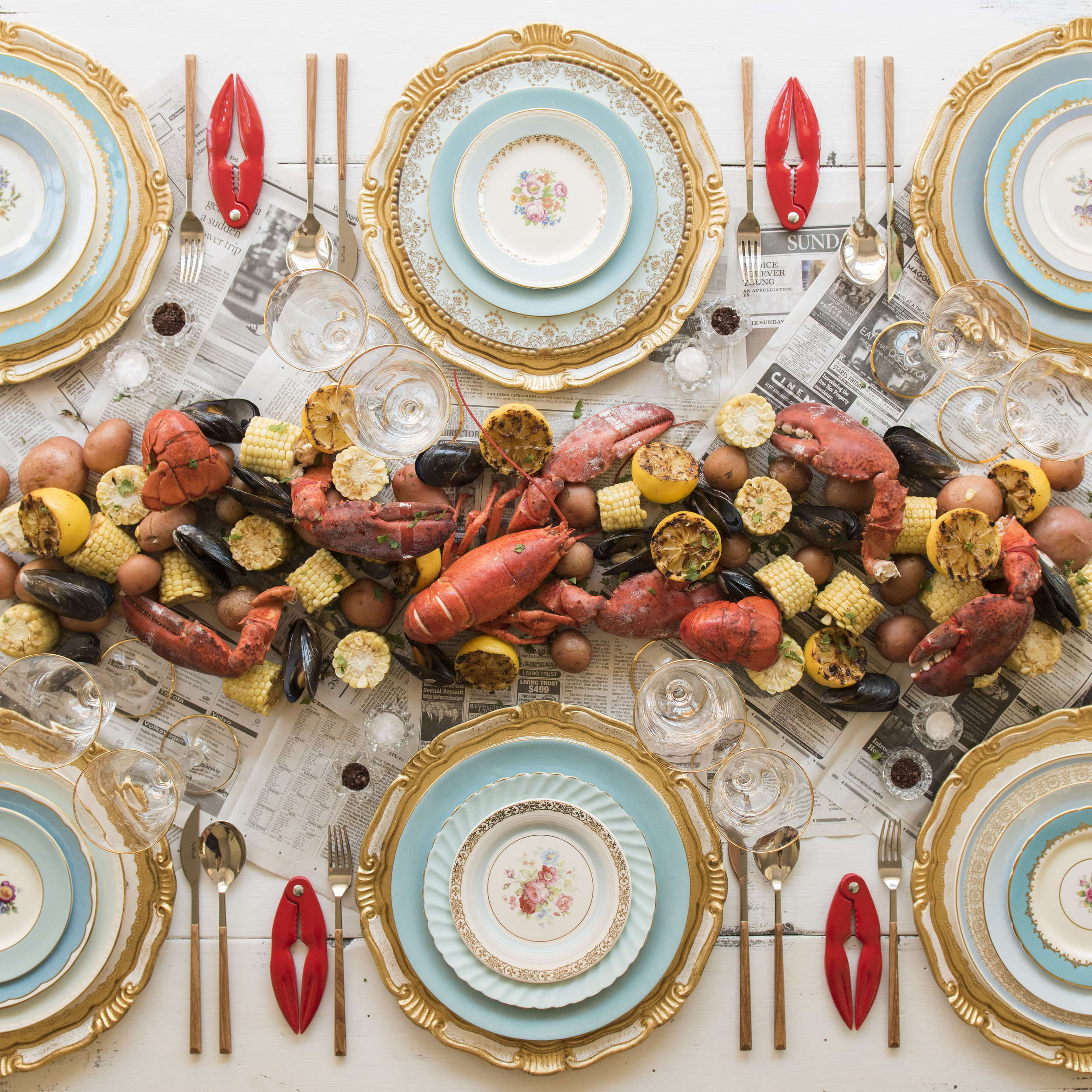 RENT: Florentine Chargers in White/Gold + Blue Botanicals Vintage China + Danish Flatware in Teak + Chloe 24k Gold Rimmed Stemware + Antique Crystal Salt Cellars   SHOP: Florentine Chargers in White/Gold + Chloe 24k Gold Rimmed Stemware