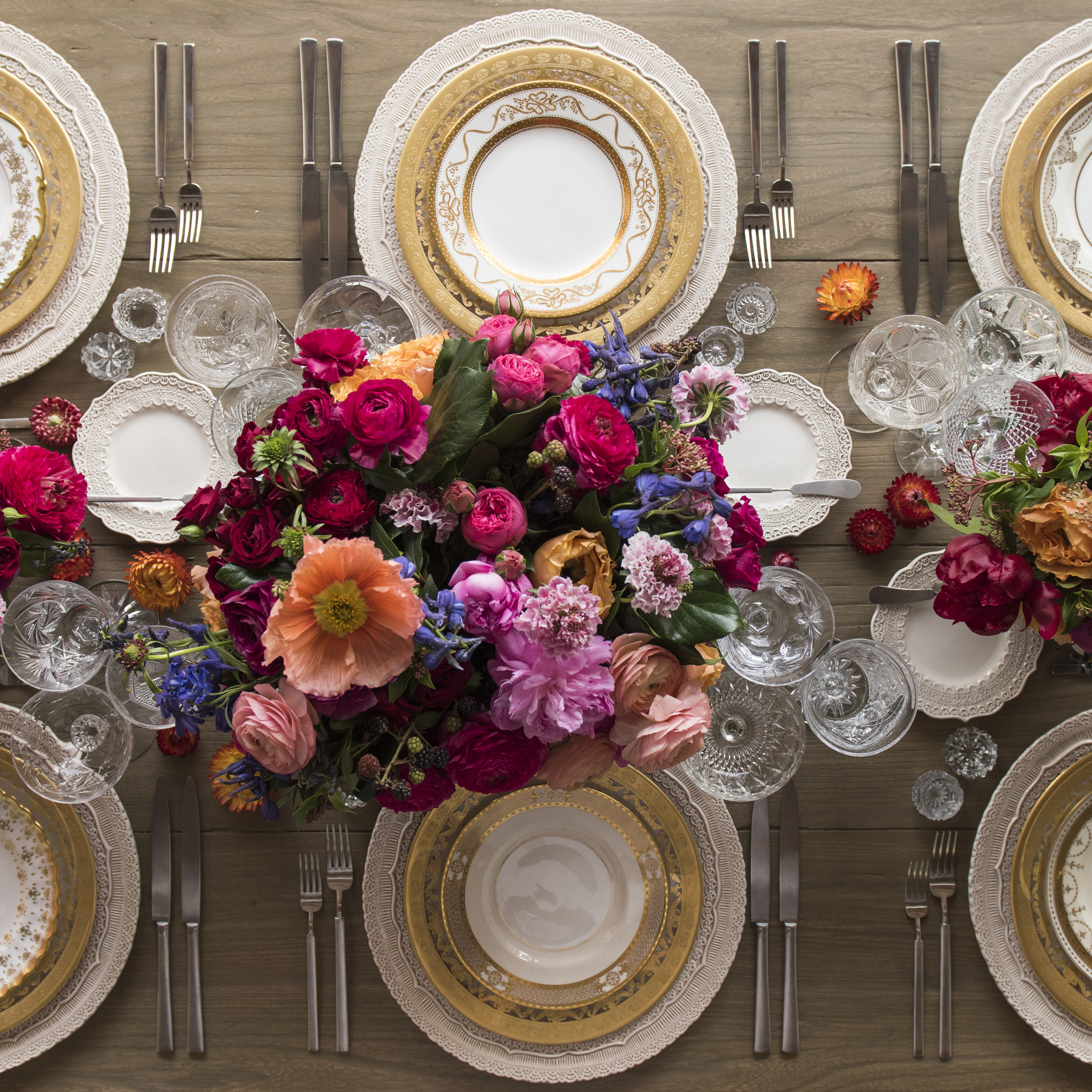 RENT: Lace Chargers in White + Versailles Glass Dinnerware in 24k Gold + Crown Gold Collection Vintage China + Axel Flatware in Matte Silver + Vintage Cut Crystal Goblets + Early American Pressed Glass Goblets + Antique Crystal Salt Cellars