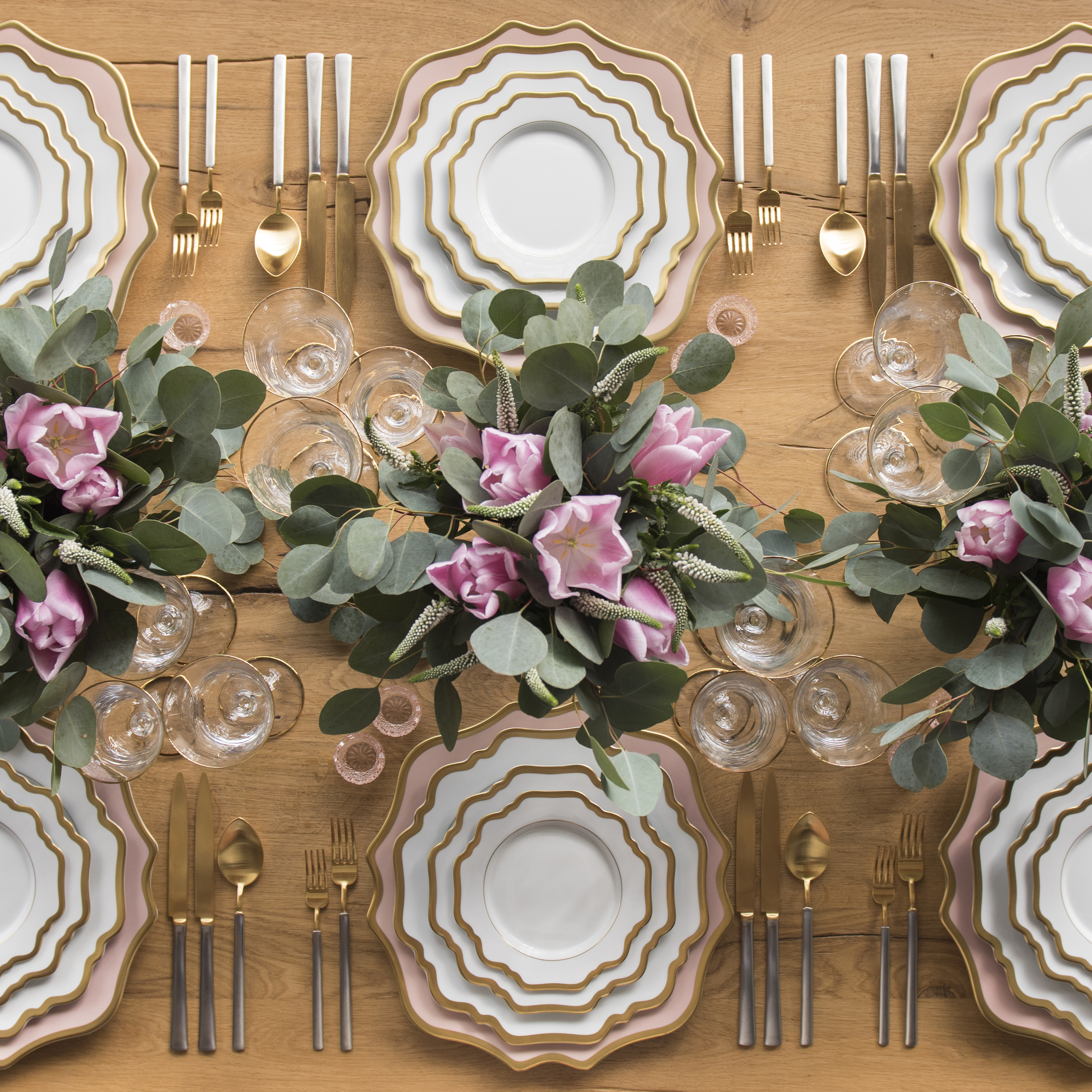 RENT: Anna Weatherley Chargers in Desert Rose/Gold + Anna Weatherley Dinnerware in White/Gold + Axel Flatware in Matte 24k Gold/Silver + Chloe 24k Gold Rimmed Stemware + Pink Crystal Salt Cellars  SHOP: Anna Weatherley Dinnerware in White/Gold + Chloe 24k Gold Rimmed Stemware
