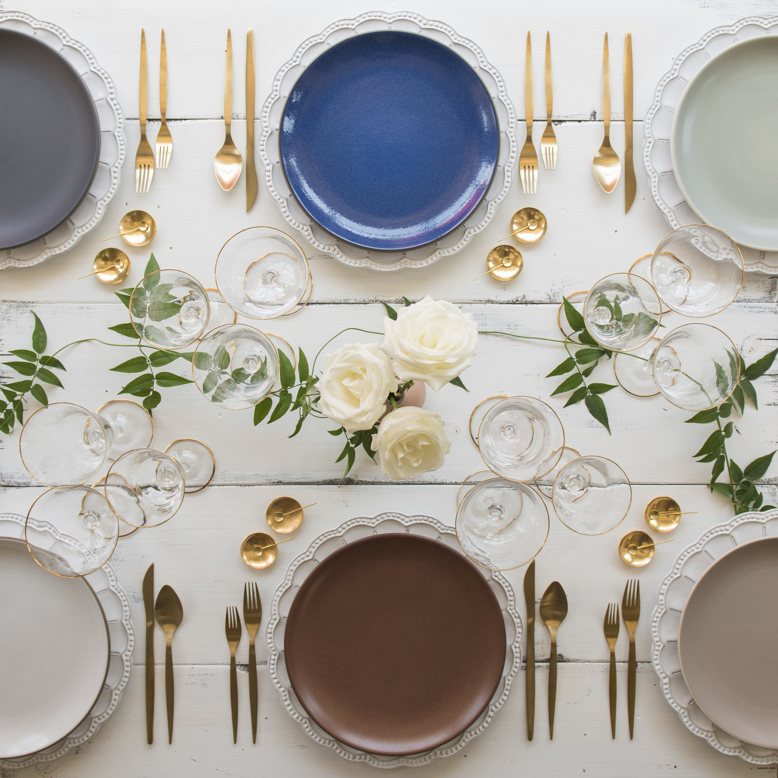 RENT: Signature Collection Chargers + Heath Ceramics in Indigo/Slate, Moonstone, Mist, Opaque White, Redwood and French Grey + Celeste Flatware in Matte Gold + Chloe 24k Gold Rimmed Stemware + 14k Gold Salt Cellars + Tiny Gold Spoons   SHOP: Chloe 24k Gold Rimmed Stemware + 14k Gold Salt Cellars + Tiny Gold Spoons