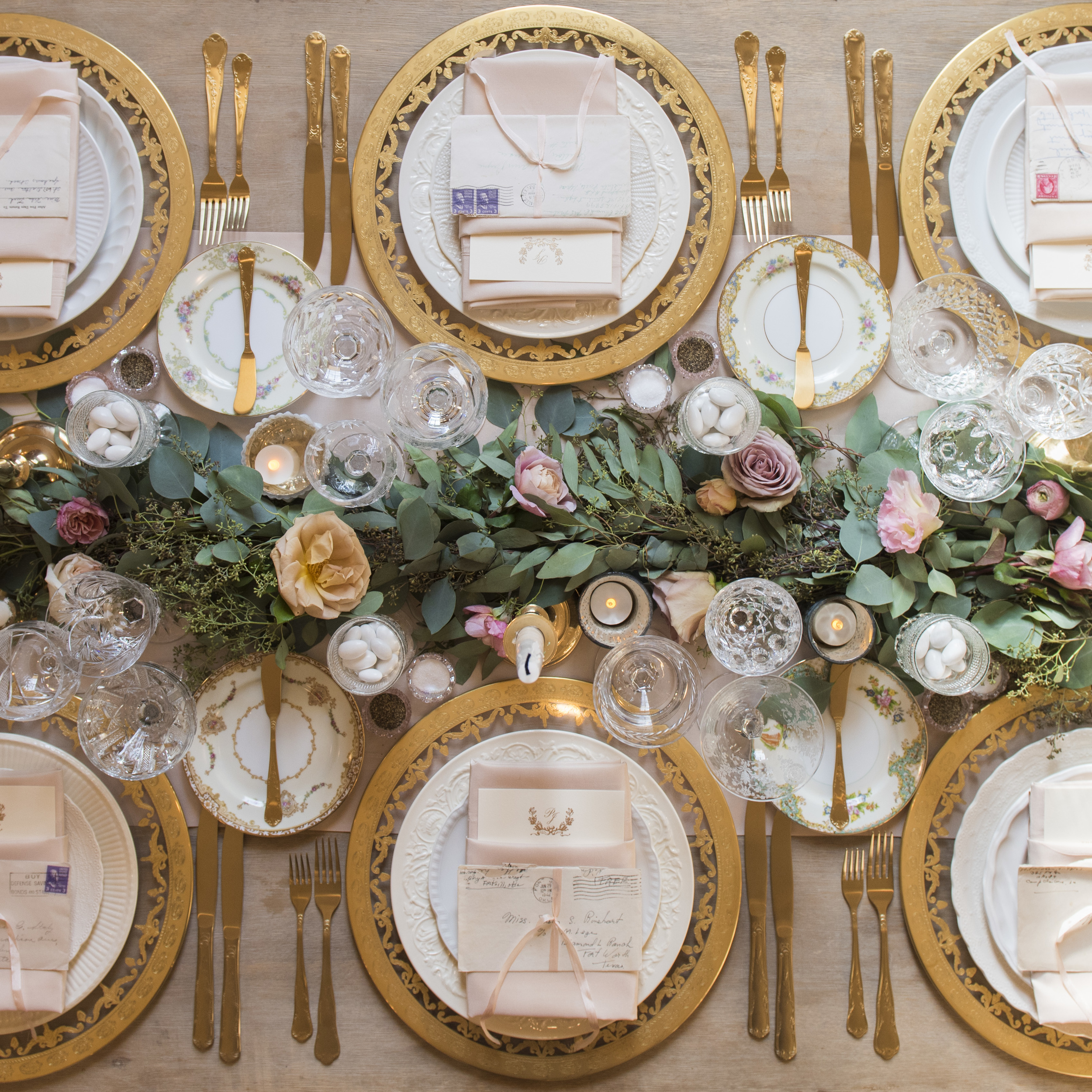 RENT: Versailles Glass Chargers in 24k Gold + White Collection Vintage China + Le Melange Vintage China + Chateau Flatware in Matte Gold + Vintage Cut Crystal Goblets + Early American Pressed Glass Goblets + Vintage Champagne Coupes + Pink Crystal Salt Cellars