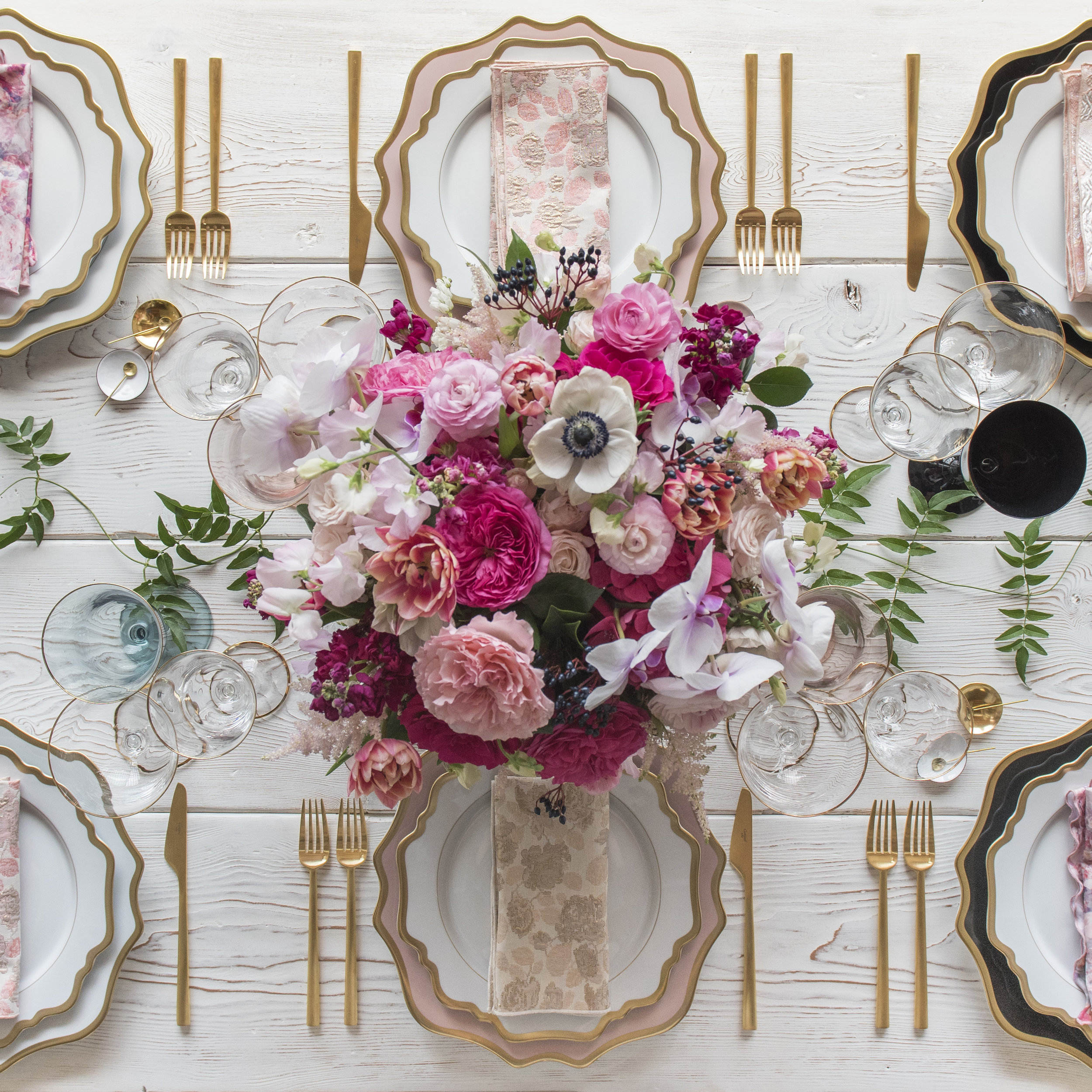 RENT: Anna Weatherley Chargers in White/Gold, Desert Rose/Gold, Black/Gold + Anna Weatherley Dinnerware in White/Gold + Rondo Flatware in Brushed 24k Gold + Chloe 24k Gold Rimmed Stemware + Chloe 24k Gold Rimmed Goblets in Agave/Blush/Black + 14k Gold Salt Cellars + White Enamel Salt Cellars + Tiny Gold Spoons   SHOP: Anna Weatherley Dinnerware in White/Gold + Rondo 24k Gold Flatware + Chloe 24k Gold Rimmed Stemware + 14k Gold Salt Cellars + White Enamel Salt Cellars + Tiny Gold Spoons