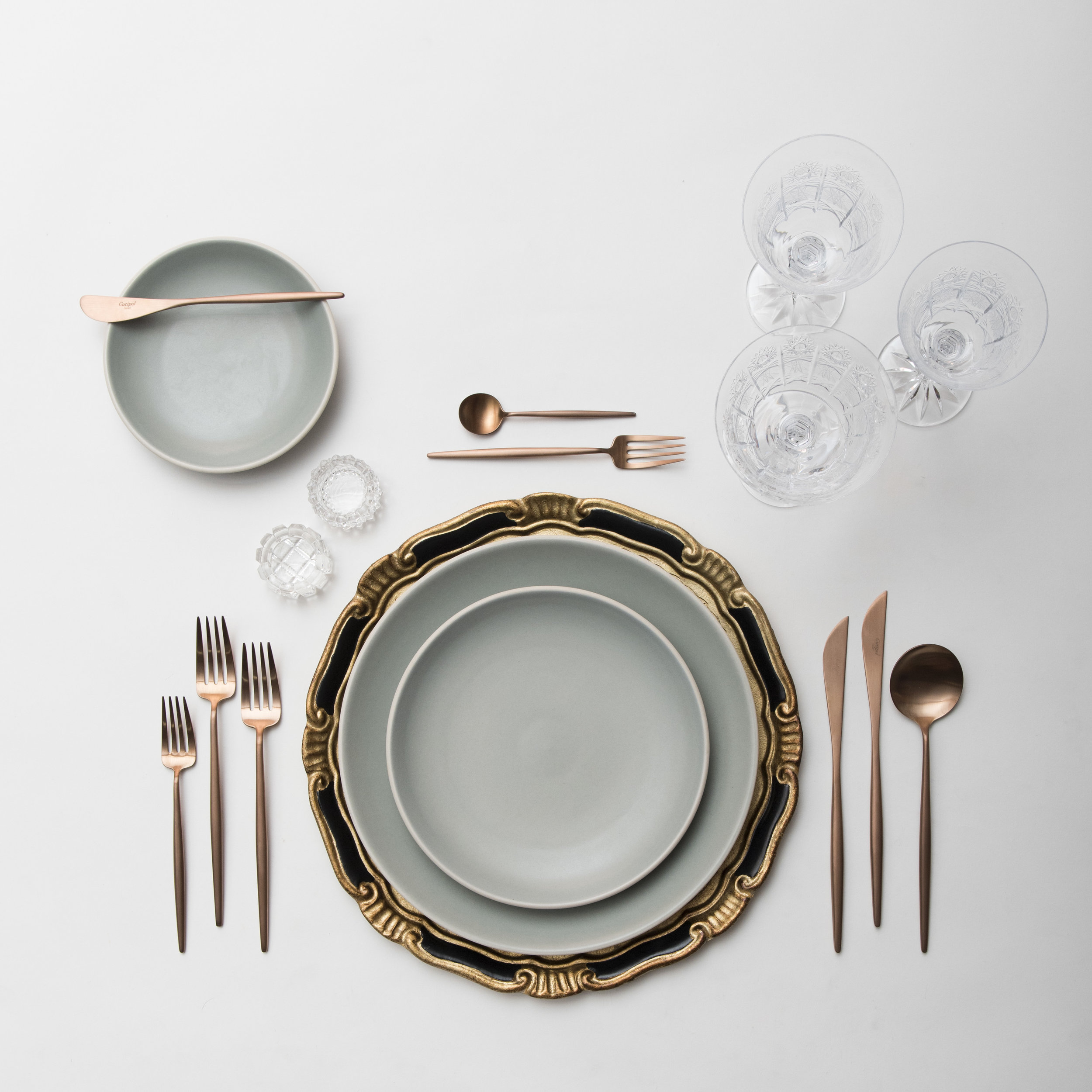 RENT: Florentine Chargers in Black/Gold + Heath Ceramics in Mist + Moon Flatware in Brushed Rose Gold + Czech Crystal Stemware + Antique Crystal Salt Cellars  SHOP: Florentine Chargers in Black/Gold + Moon Flatware in Brushed Rose Gold