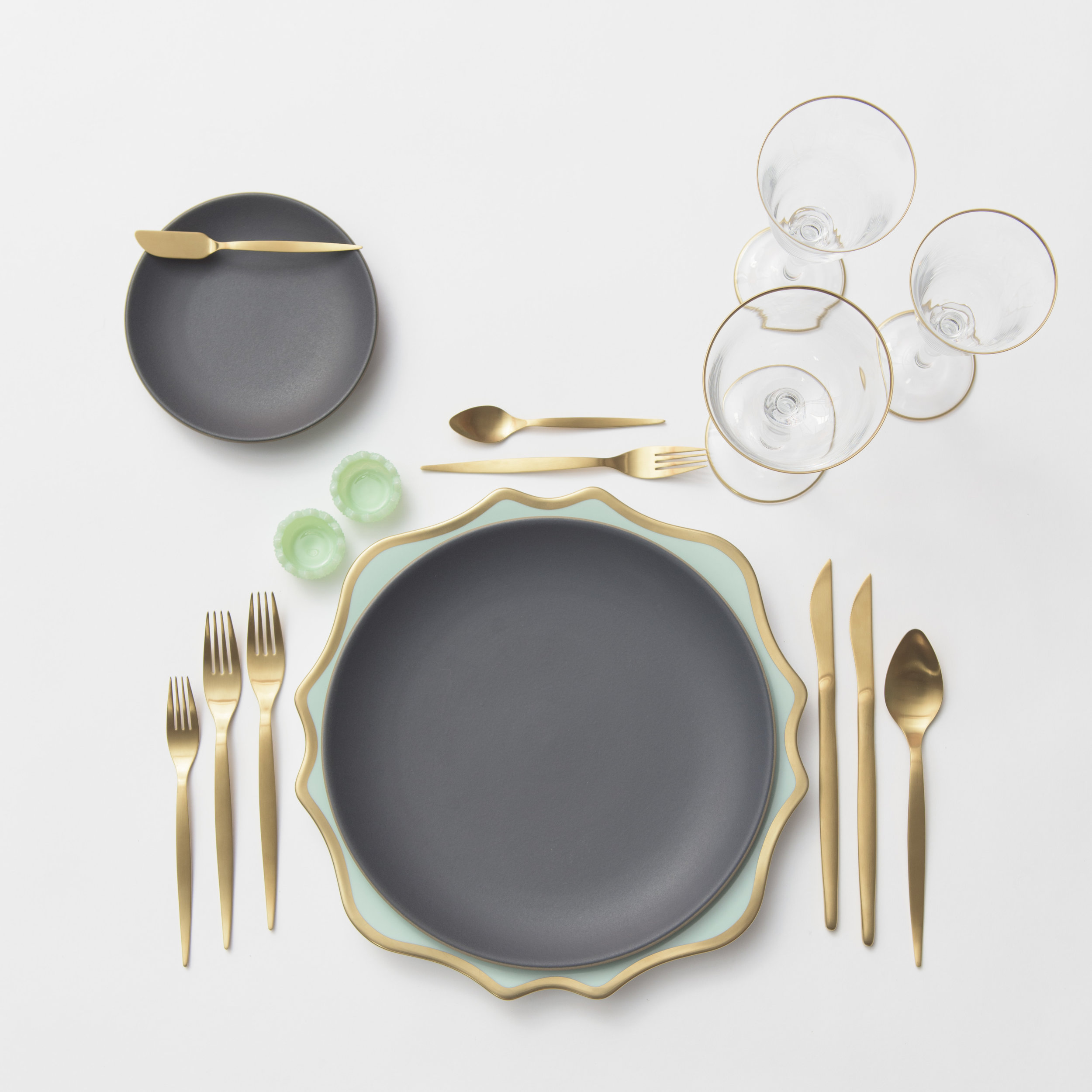 RENT: Anna Weatherley Chargers in Aqua Sky/Gold + Heath Ceramics in Indigo/Slate + Celeste Flatware in Matte Gold + Chloe 24k Gold Rimmed Stemware + Jadeite Crystal Salt Cellars  SHOP: Anna Weatherley Chargers in Aqua Sky/Gold + Chloe 24k Gold Rimmed Stemware