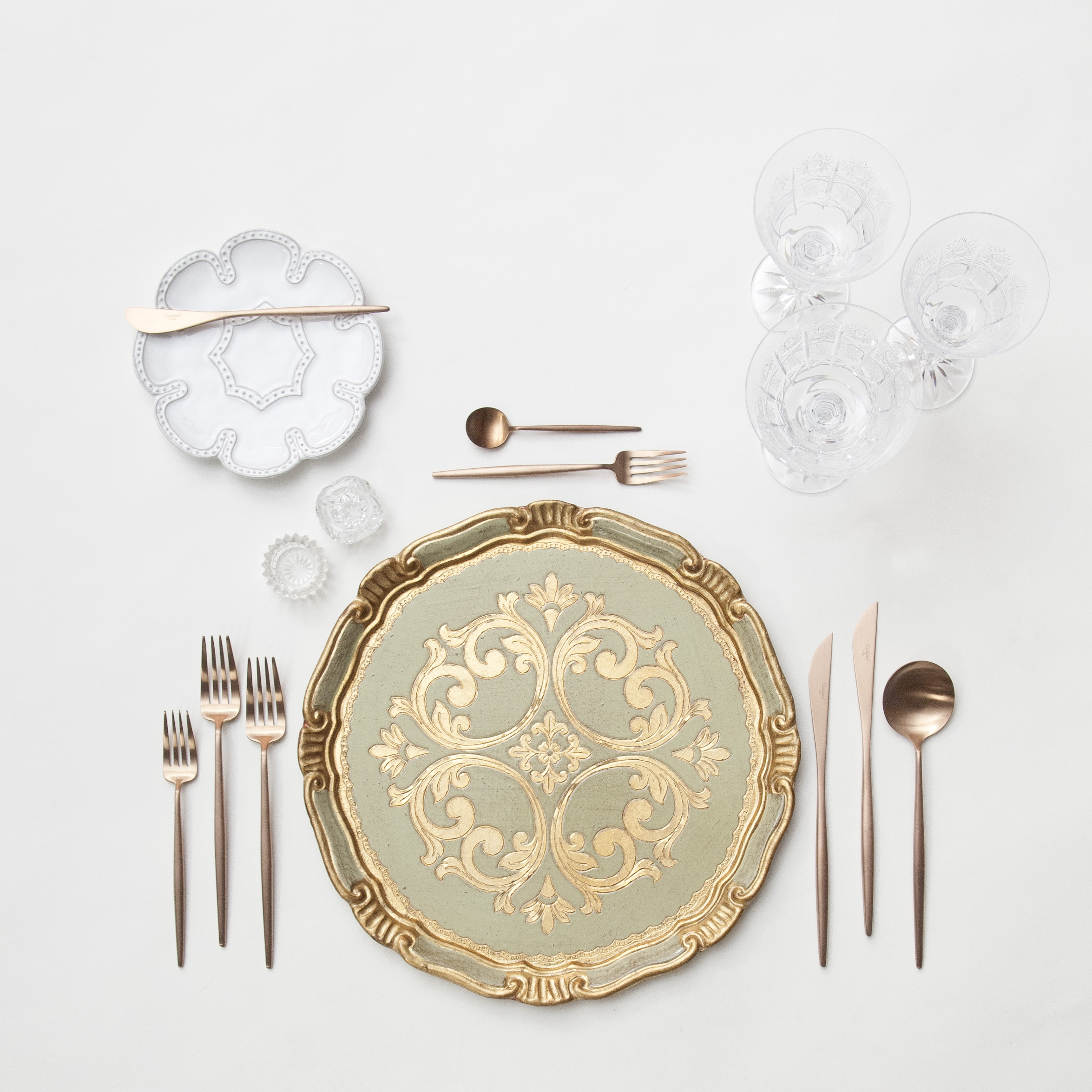 RENT: Florentine Chargers in Sage/Gold + Signature Collection Dinnerware + Moon Flatware in Brushed Rose Gold + Czech Crystal Stemware + Antique Crystal Salt Cellars  SHOP:Florentine Chargers in Sage/Gold +Moon Flatware in Brushed Rose Gold