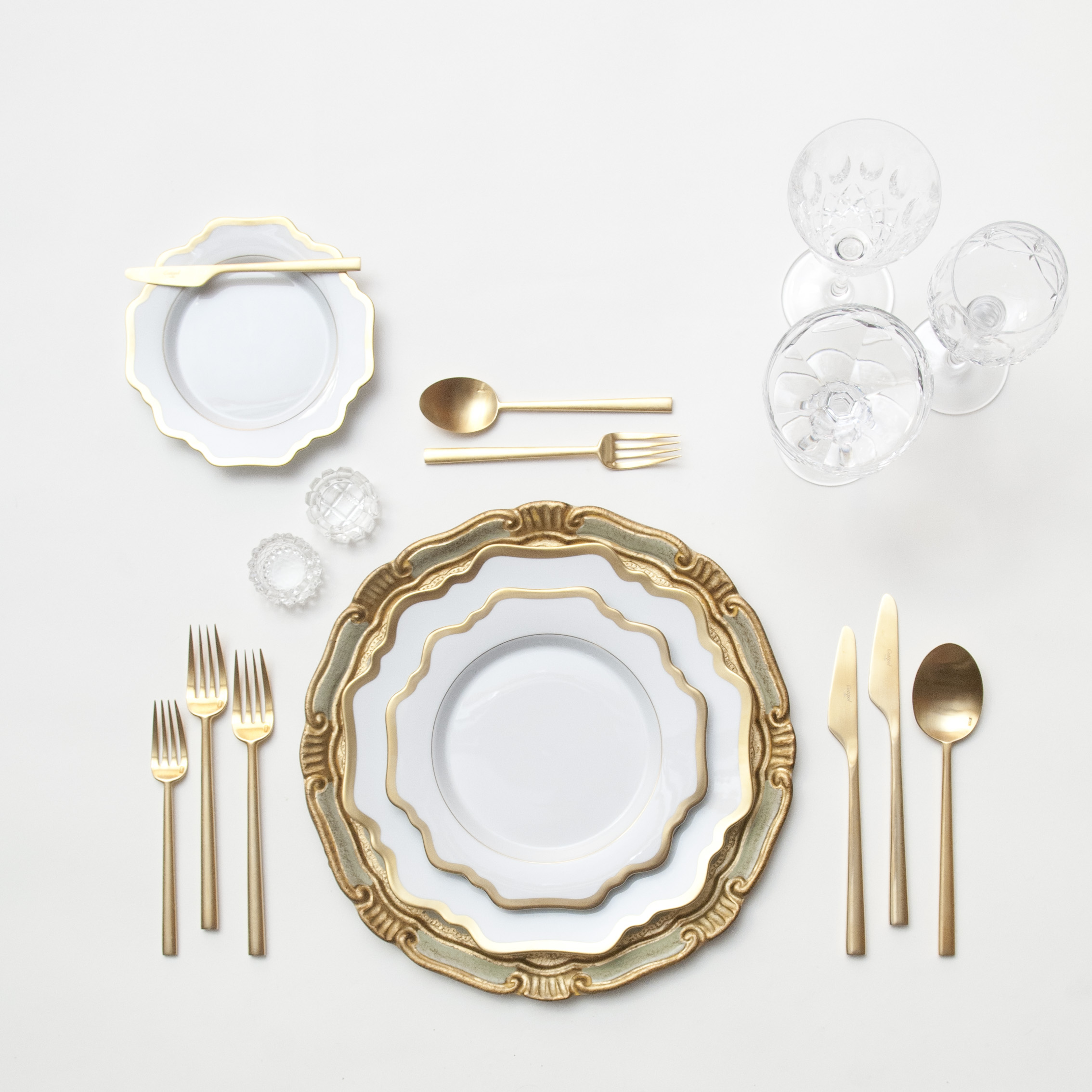 RENT: Florentine Chargers in Sage/Gold + Anna Weatherley Dinnerware in White/Gold + Rondo Flatware in Brushed 24k Gold + Vintage Cut Crystal Goblets + Vintage Champagne Coupes + Antique Crystal Salt Cellars   SHOP: Florentine Chargers in Sage/Gold + Anna Weatherley Dinnerware in White/Gold + Rondo Flatware in Brushed 24k Gold
