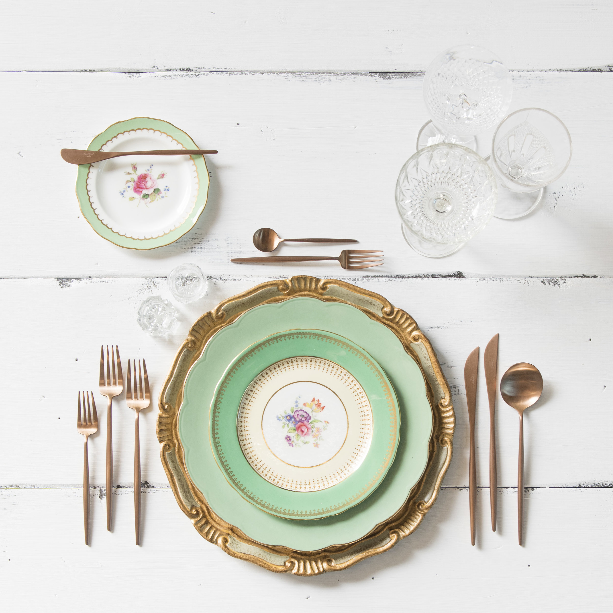RENT: Florentine Chargers in Sage/Gold + Green Botanicals Vintage China + Moon Flatware in Brushed Rose Gold + Vintage Cut Crystal Goblets + Early American Pressed Glass Goblets + Vintage Champagne Coupes + Antique Crystal Salt Cellars   SHOP: Florentine Chargers in Sage/Gold + Moon Flatware in Brushed Rose Gold