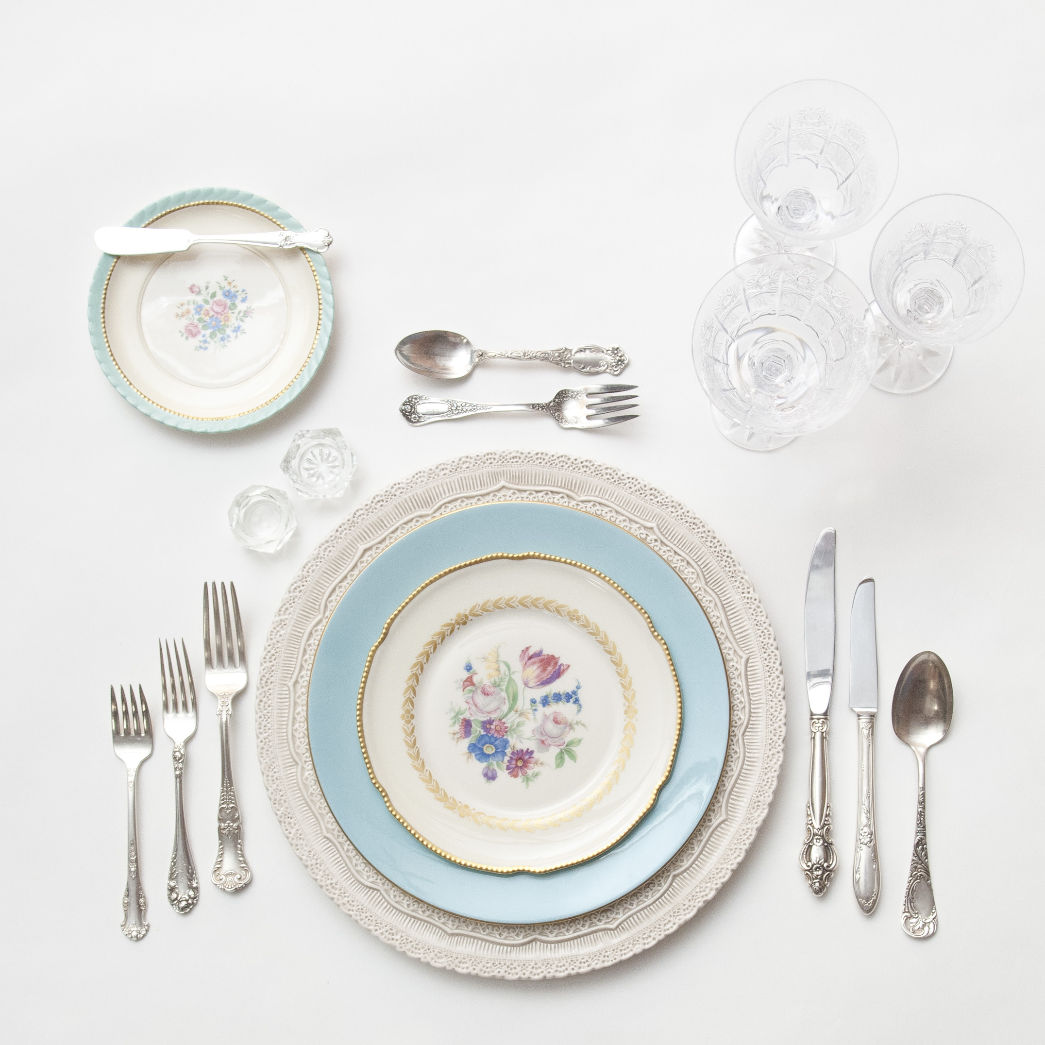 RENT: Lace Chargers in White + Blue/White Botanicals Vintage China + Antique Silver Flatware + Czech Crystal Stemware + Antique Crystal Salt Cellars