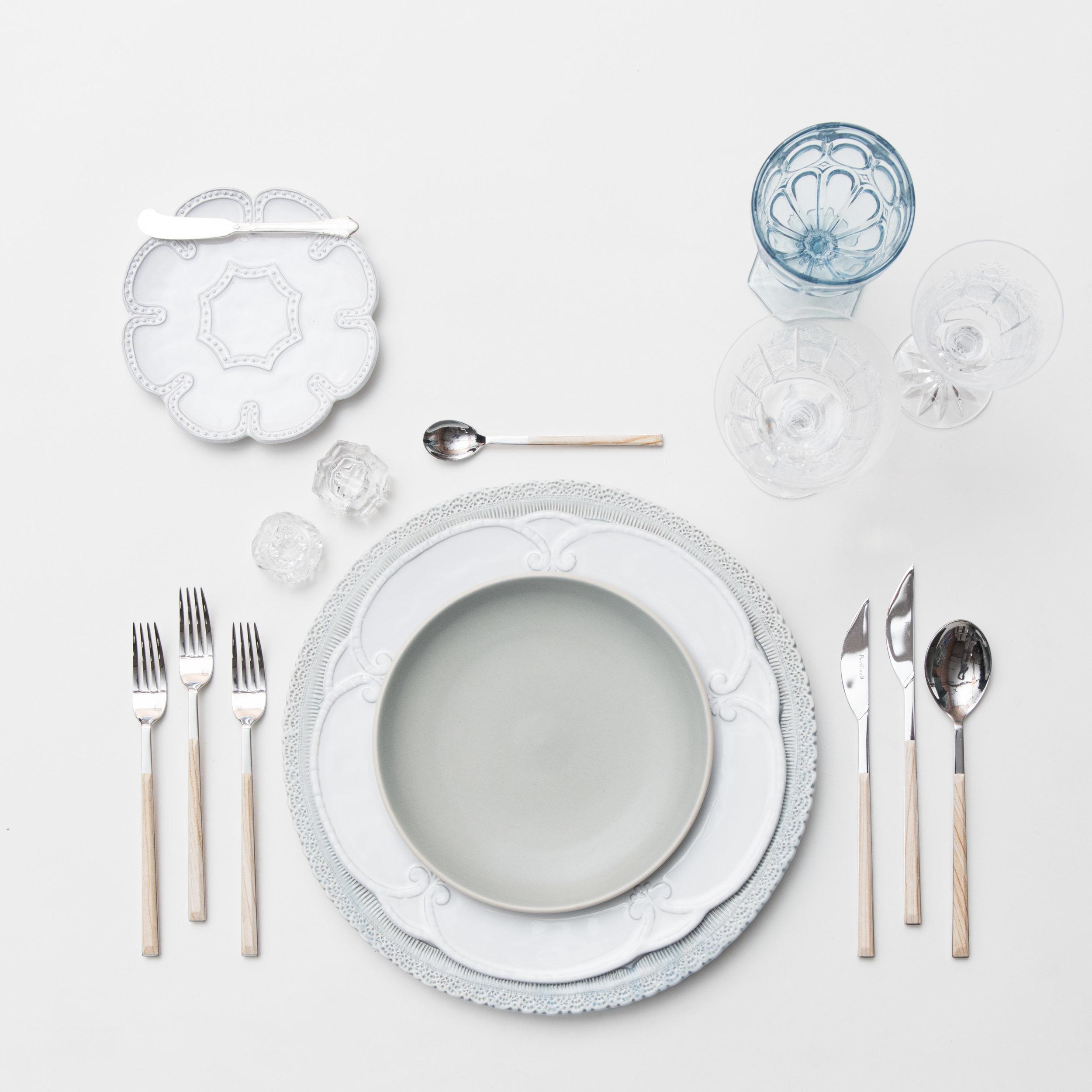 RENT: Lace Chargers in Dusty Blue + Signature Collection Dinnerware + Heath Ceramics in Mist + Danish Flatware in Birch + Light Blue Vintage Goblets + Czech Crystal Stemware + Antique Crystal Salt Cellars