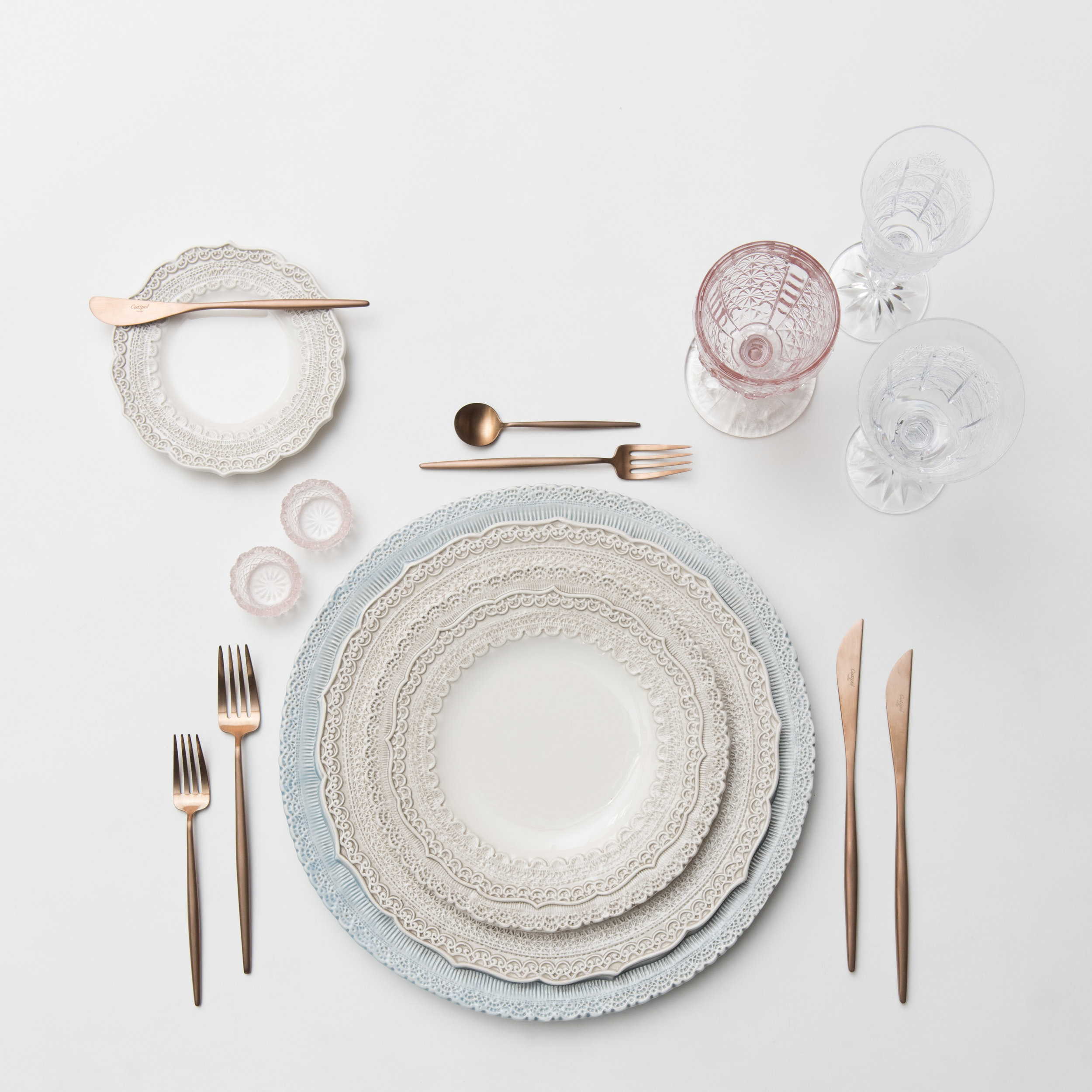 RENT: Lace Chargers in Dusty Blue + Lace Dinnerware in White + Moon Flatware in Brushed Rose Gold + Pink Vintage Goblets + Czech Crystal Stemware + Pink Crystal Salt Cellars   SHOP:Moon Flatware in Brushed Rose Gold
