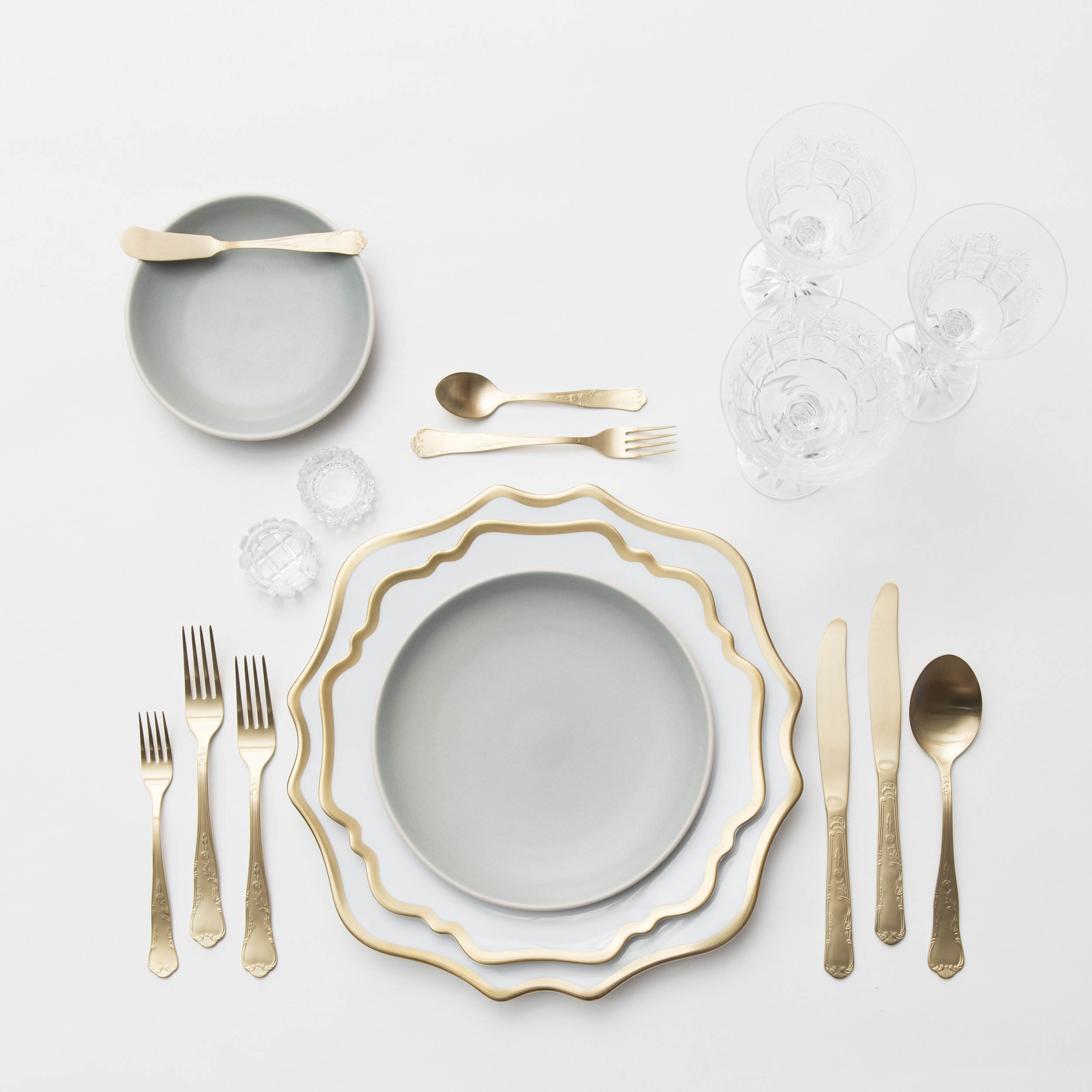 RENT: Anna Weatherley Chargers/Dinnerware in White/Gold + Heath Ceramics in Mist + Chateau Flatware in Matte Gold + Czech Crystal Stemware + Antique Crystal Salt Cellars  SHOP:Anna Weatherley Chargers/Dinnerware in White/Gold