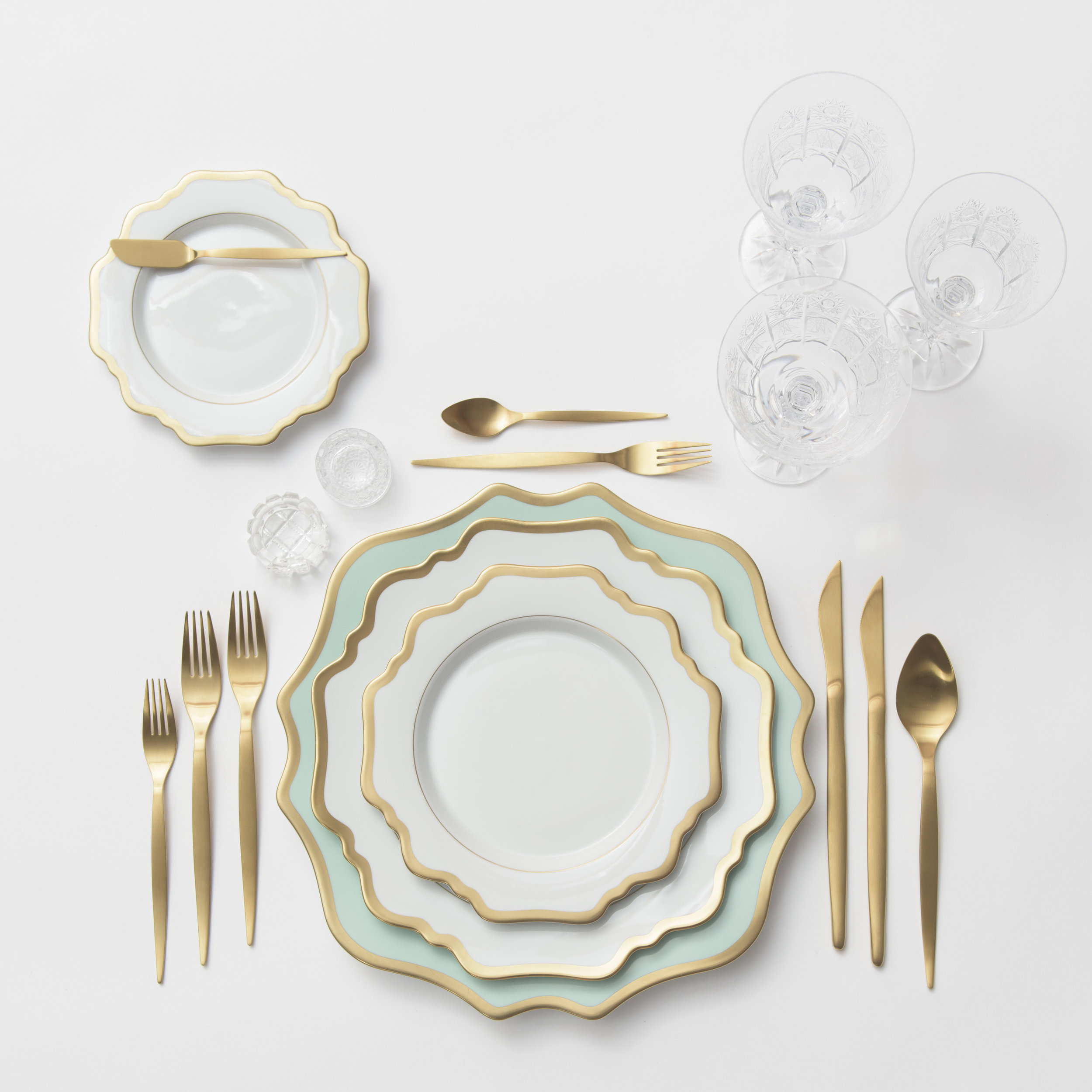 RENT: Anna Weatherley Chargers in Aqua Sky/Gold + Anna Weatherley Dinnerware in White/Gold + Celeste Flatware in Matte Gold + Czech Crystal Stemware + Antique Crystal Salt Cellars  SHOP:Anna Weatherley Chargers in Aqua Sky/Gold +Anna Weatherley Dinnerware in White/Gold