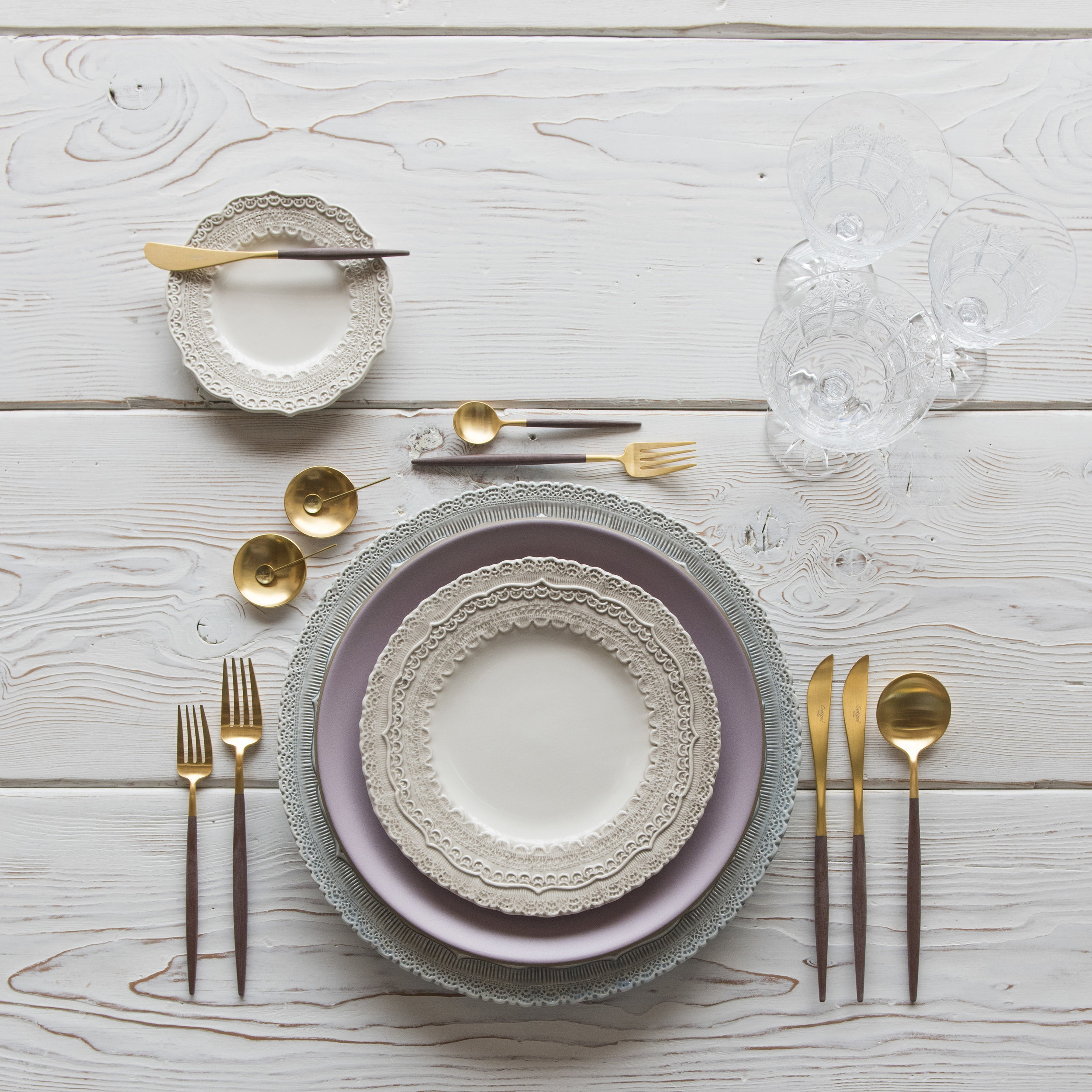 RENT: Lace Chargers in Dusty Blue + Custom Heath Ceramics in Wildflower + Lace Dinnerware in White + Goa Flatware in Brushed 24k Gold/Wood + Czech Crystal Stemware + 14k Gold Salt Cellars + Tiny Gold Spoons  SHOP:Goa Flatware in Brushed 24k Gold/Wood + 14k Gold Salt Cellars + Tiny Gold Spoons