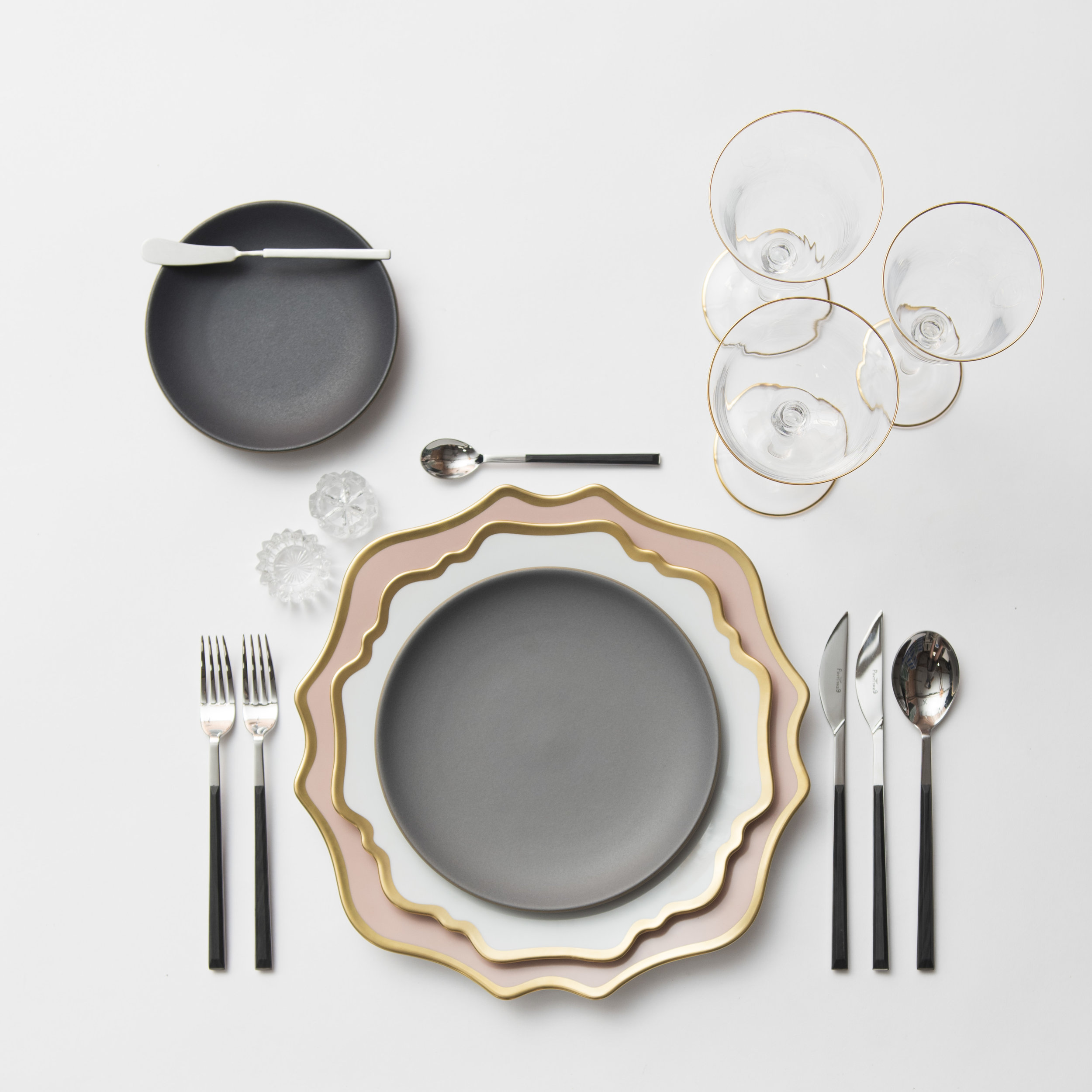 RENT: Anna Weatherley Chargers in Desert Rose/Gold + Anna Weatherley Dinnerware in White/Gold + Danish Flatware in Ebony + Chloe 24k Gold Rimmed Stemware + Antique Crystal Salt Cellars  SHOP: Anna Weatherley Dinnerware in White/Gold + Chloe 24k Gold Rimmed Stemware