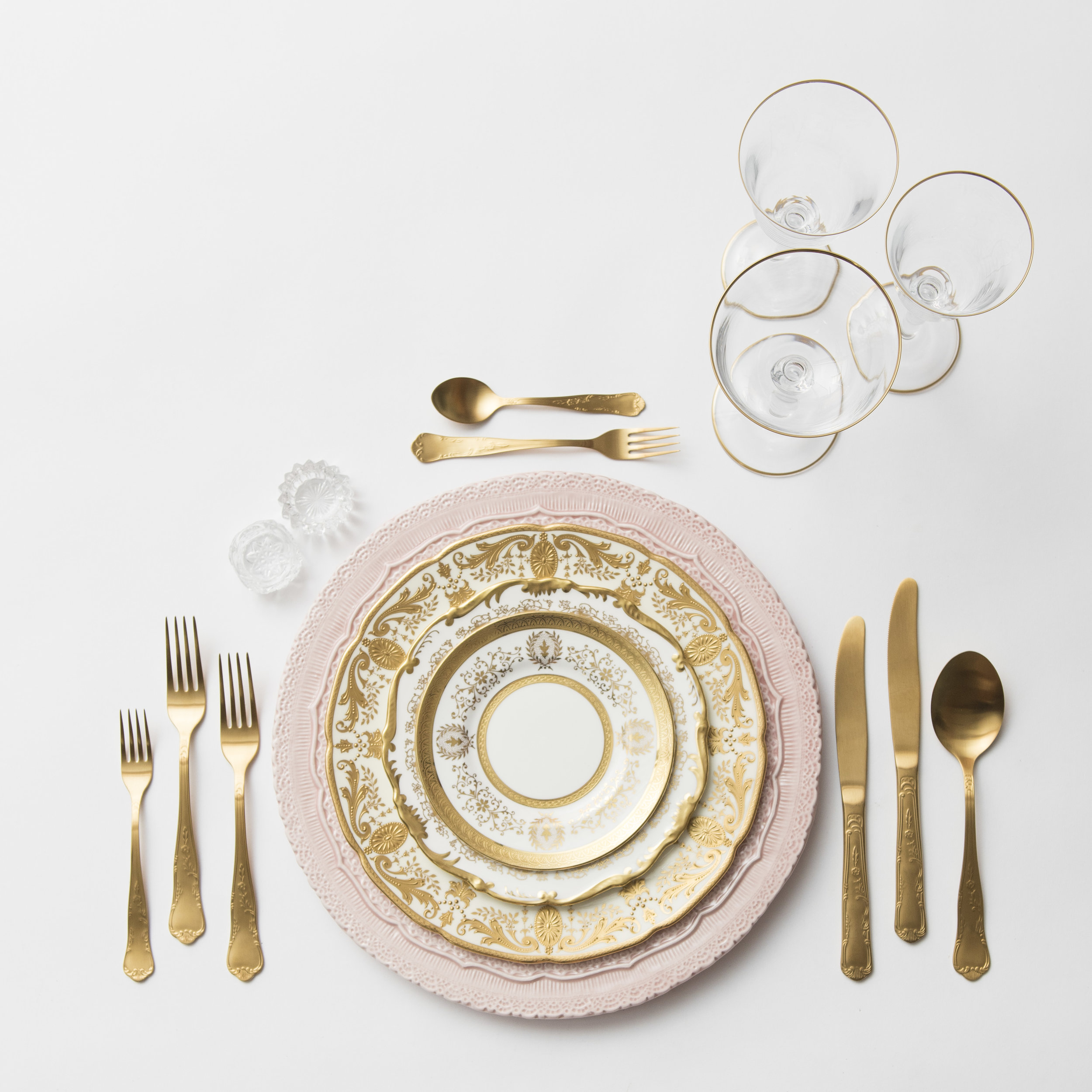RENT: Lace Chargers in Blush + Crown Gold Collection Vintage China + Chateau Flatware in Matte Gold + Chloe 24k Gold Rimmed Stemware + Antique Crystal Salt Cellars  SHOP: Chloe 24k Gold Rimmed Stemware