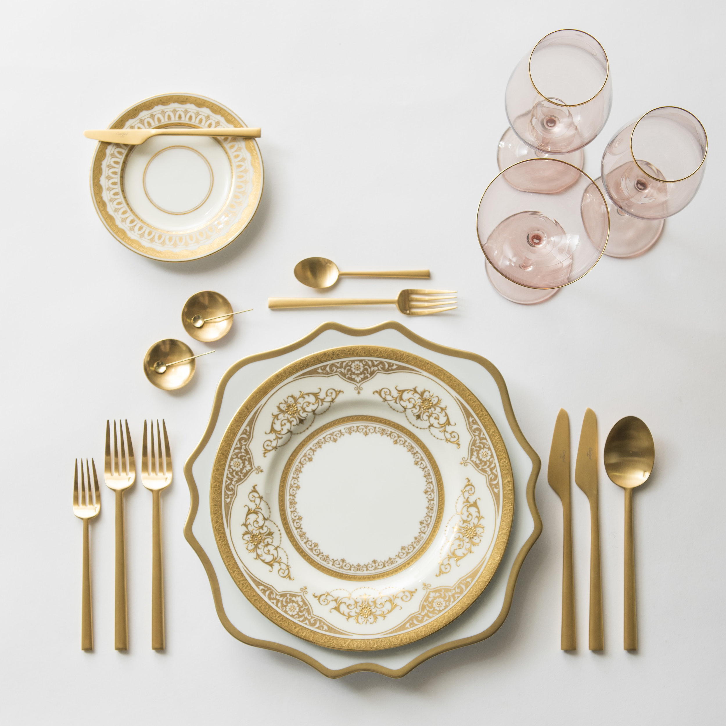 RENT: Anna Weatherley Chargers in White/Gold + Crown Gold Collection Vintage China + Rondo Flatware in Brushed 24k Gold + Bella 24k Gold Rimmed Stemware in Blush + 14k Gold Salt Cellars + Tiny Gold Spoons  SHOP: Anna Weatherley Chargers in White/Gold + Rondo Flatware in Brushed 24k Gold + Bella 24k Gold Rimmed Stemware in Blush + 14k Gold Salt Cellars + Tiny Gold Spoons