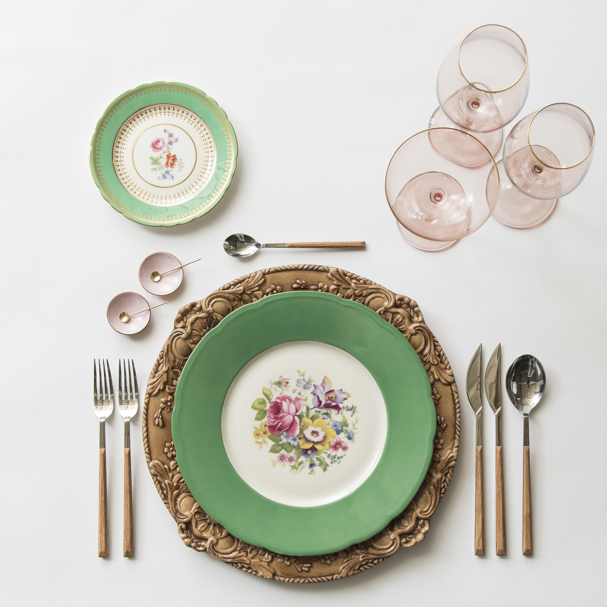 RENT: Verona Chargers in Walnut + Green Botanicals Vintage China + Danish Flatware in Teak + Bella 24k Gold Rimmed Stemware in Blush + Pink Enamel Salt Cellars + Tiny Gold Spoons  SHOP: Verona Chargers in Walnut + Bella 24k Gold Rimmed Stemware in Blush + Pink Enamel Salt Cellars + Tiny Gold Spoons