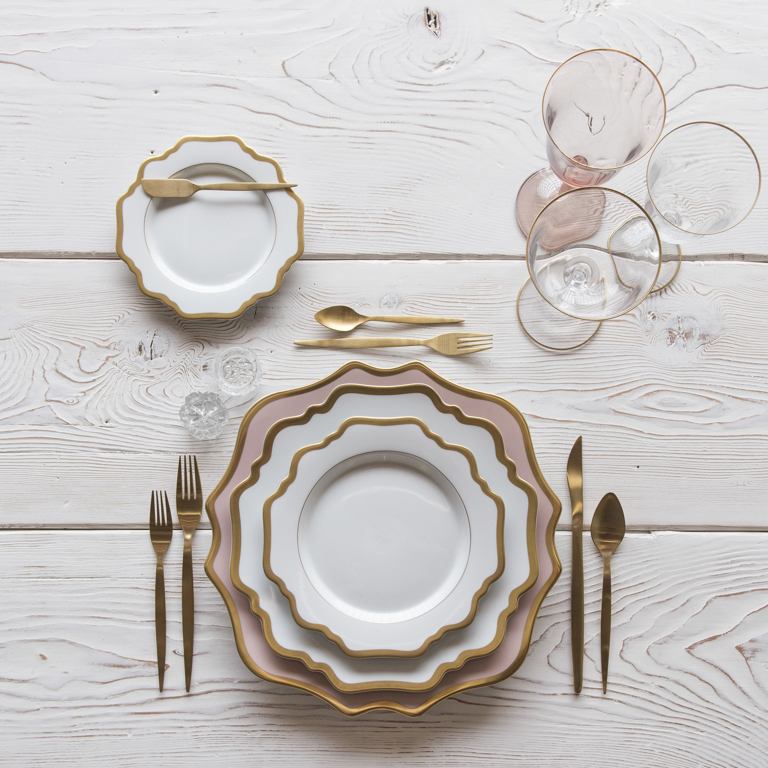 RENT: Anna Weatherley Chargers in Desert Rose/Gold + Anna Weatherley Dinnerware in White/Gold + Celeste Flatware in Matte Gold + Chloe 24k Gold Rimmed Stemware + Chloe 24k Gold Rimmed Goblet in Blush + Antique Crystal Salt Cellars  SHOP: Anna Weatherley Dinnerware in White/Gold + Chloe 24k Gold Rimmed Stemware