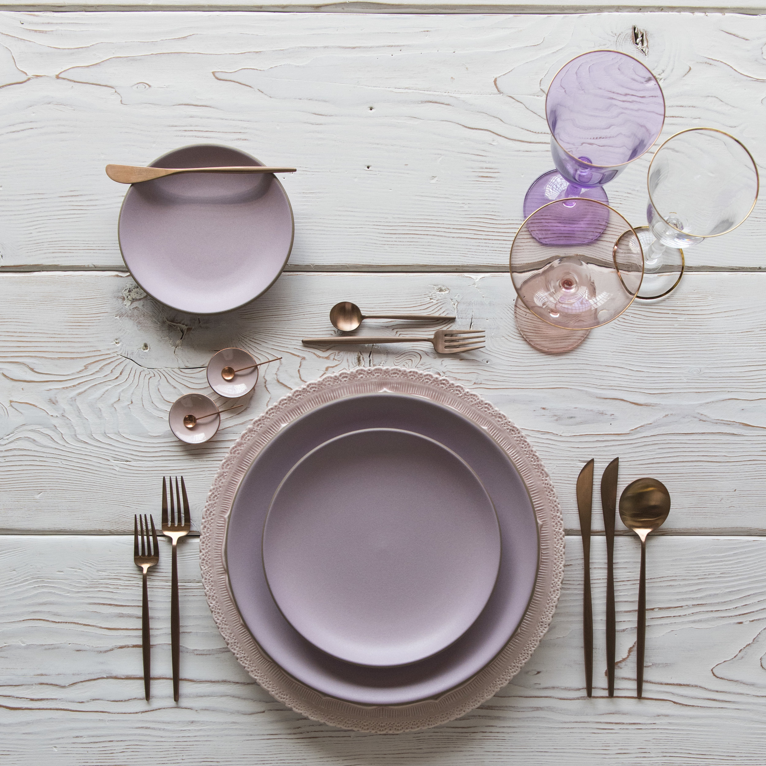 RENT: Lace Chargers in Blush + Custom Heath Ceramics in Wildflower + Moon Flatware in Brushed Rose Gold + Chloe 24k Gold Rimmed Stemware + Chloe 24k Gold Rimmed Goblet in Lilac + Bella 24k Gold Rimmed Stemware + Pink Enamel Salt Cellars + Tiny Copper Spoons   SHOP: Moon Flatware in Brushed Rose Gold + Chloe 24k Gold Rimmed Stemware + Bella 24k Gold Rimmed Stemware + Pink Enamel Salt Cellars + Tiny Copper Spoons