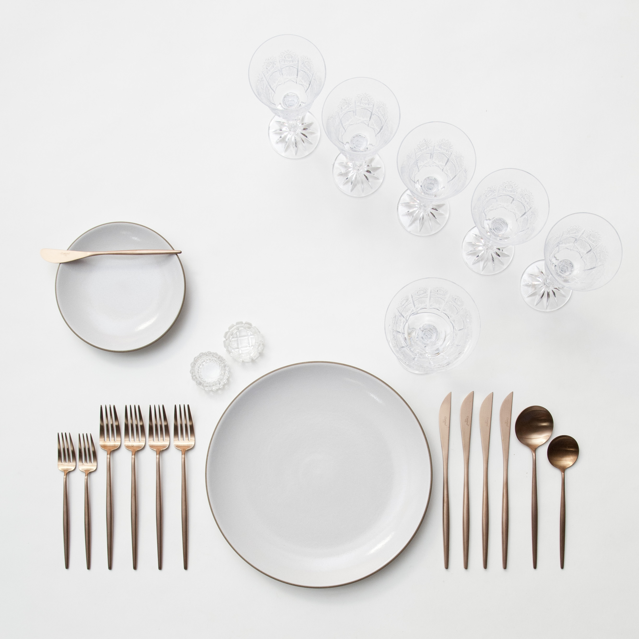 RENT: Heath Ceramics in Opaque White + Moon Flatware in Brushed Rose Gold + Czech Crystal Stemware + Antique Crystal Salt Cellars  SHOP:Moon Flatware in Brushed Rose Gold