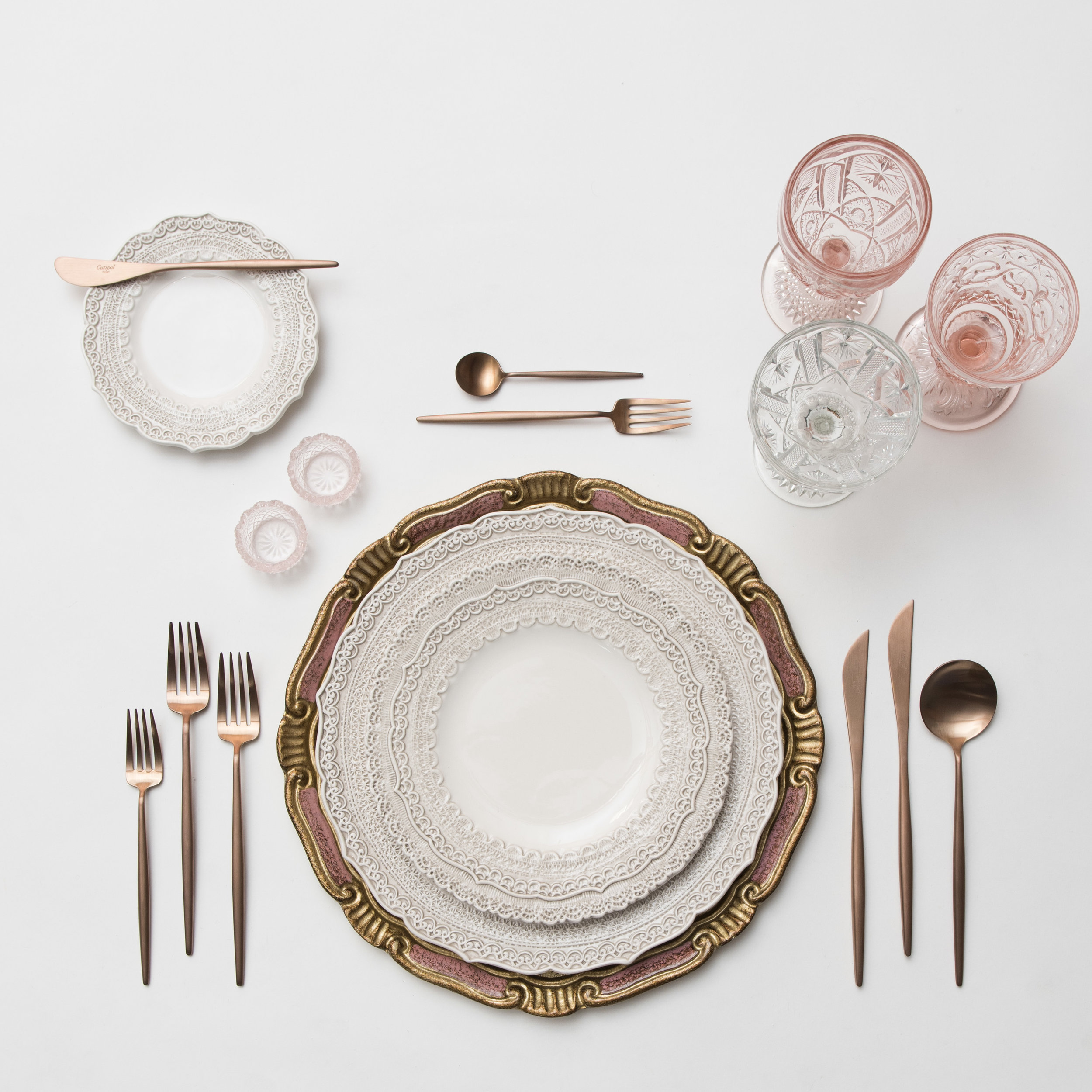 RENT: Florentine Chargers in Rose/Gold + Lace Dinnerware in White + Moon Flatware in Brushed Rose Gold + Pink Vintage Goblets + Vintage Cut Crystal Goblets + Vintage Champagne Coupes + Pink Crystal Salt Cellars  SHOP: Moon Flatware in Brushed Rose Gold
