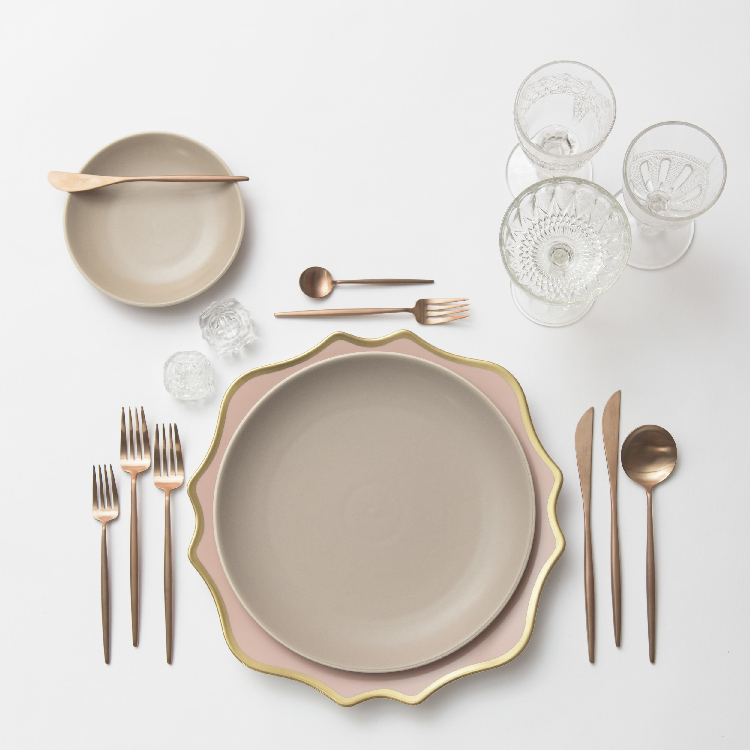 RENT: Anna Weatherley Chargers in Desert Rose/Gold +Heath Ceramics in French Grey + Moon Flatware in Brushed Rose Gold + Early American Pressed Glass Goblets + Vintage Champagne Coupes + Antique Crystal Salt Cellars  SHOP:Moon Flatware in Brushed Rose Gold